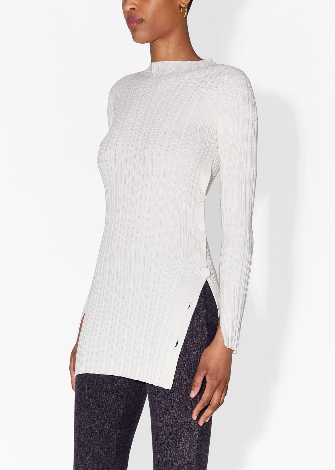 TUNIC WITH SIDE BUTTONS IN COTTON CREPE