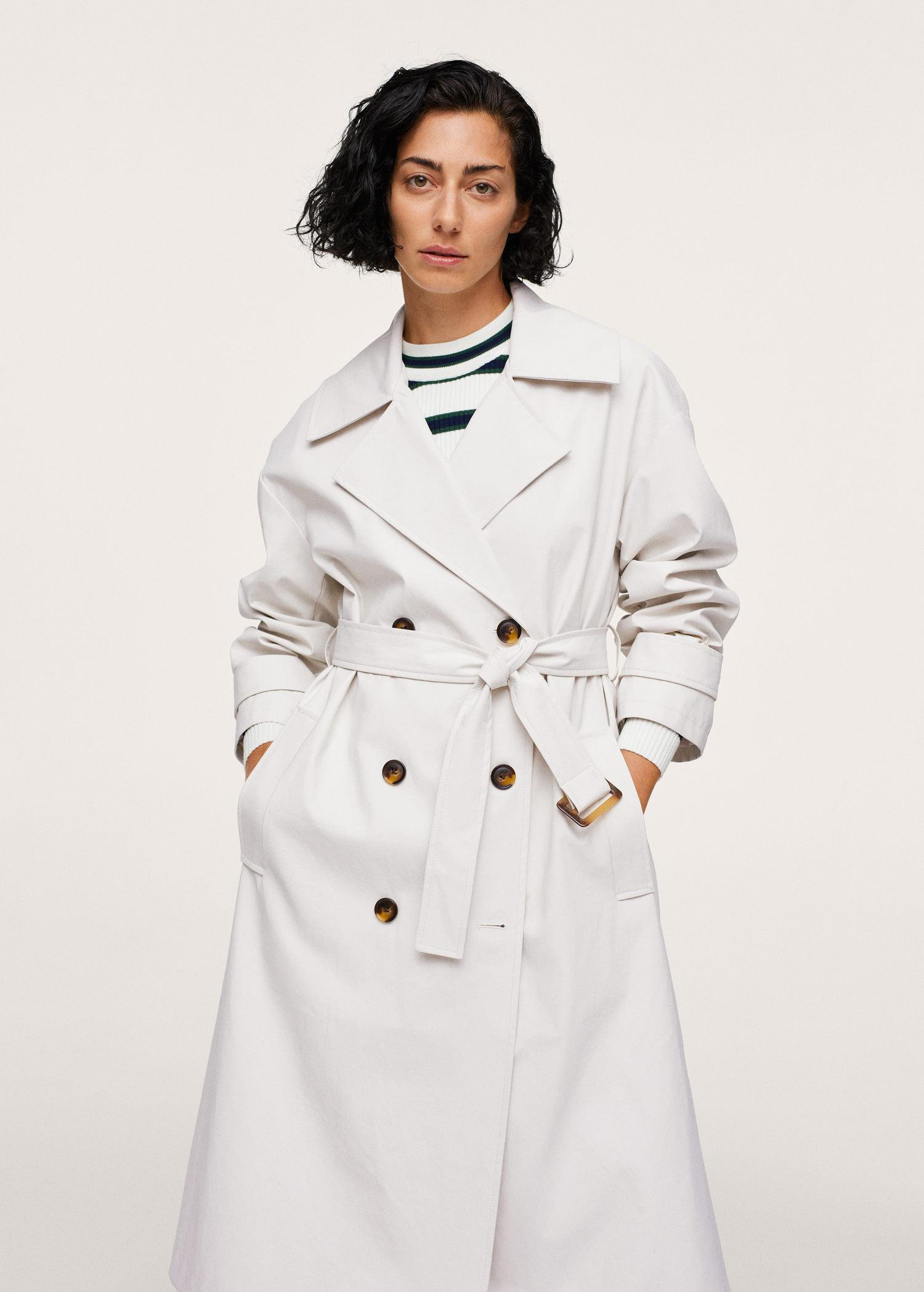 Oversize leather-effect trench coat