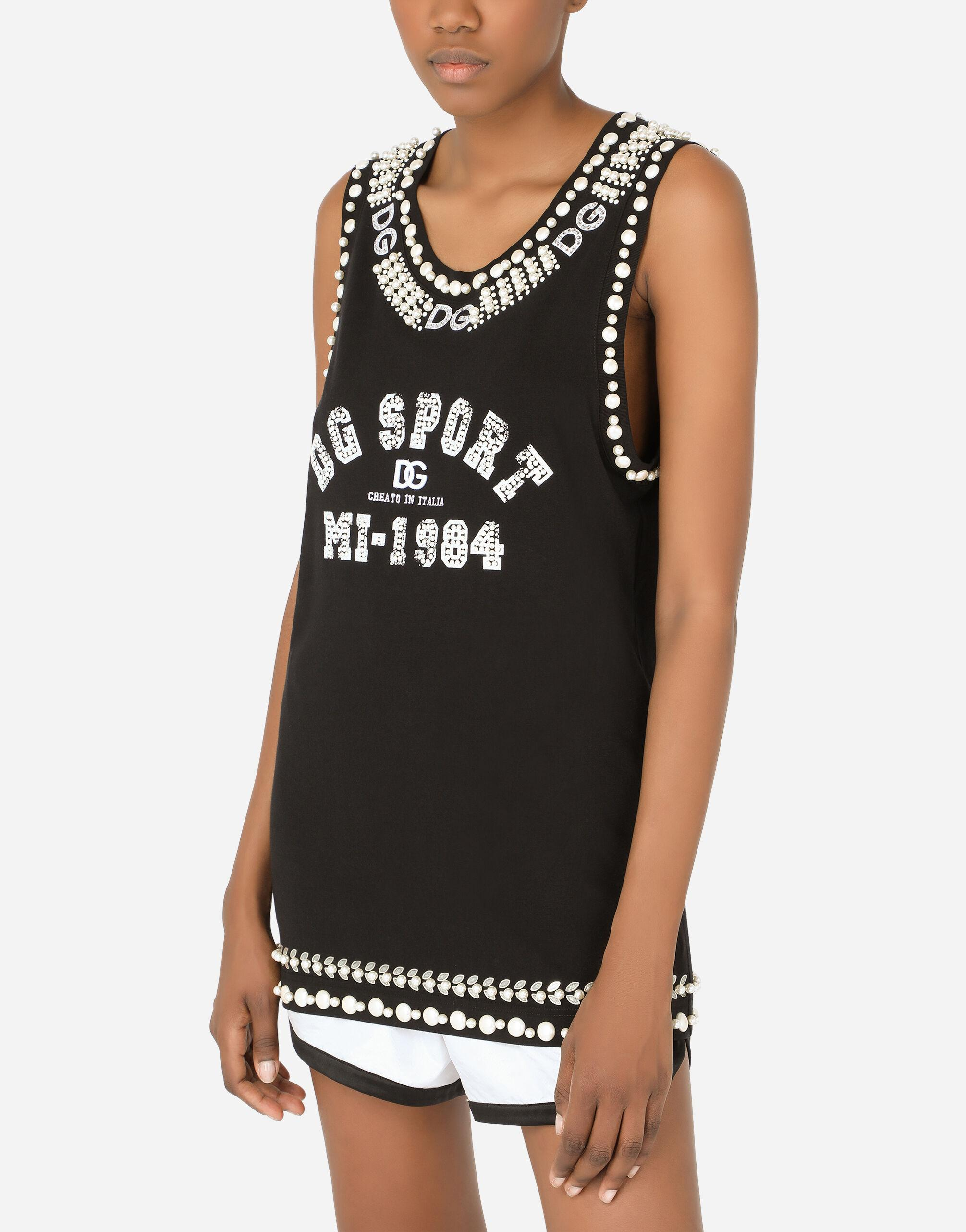 Jersey tank top with crystal details 2