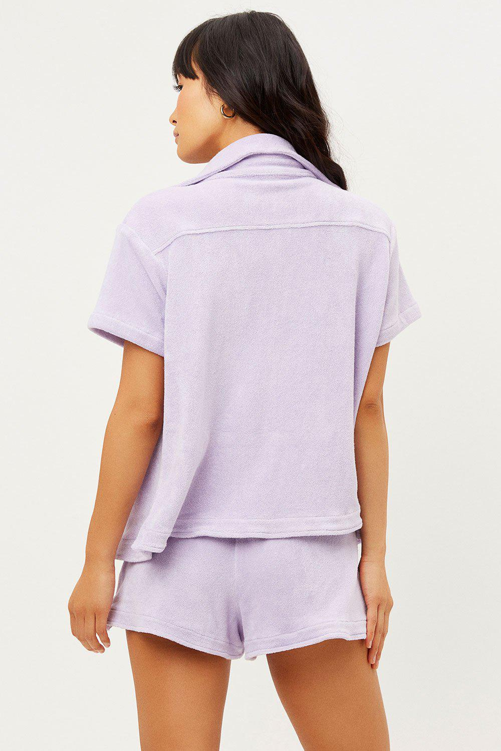 Coco Terry Button Up Shirt - Lilac 1