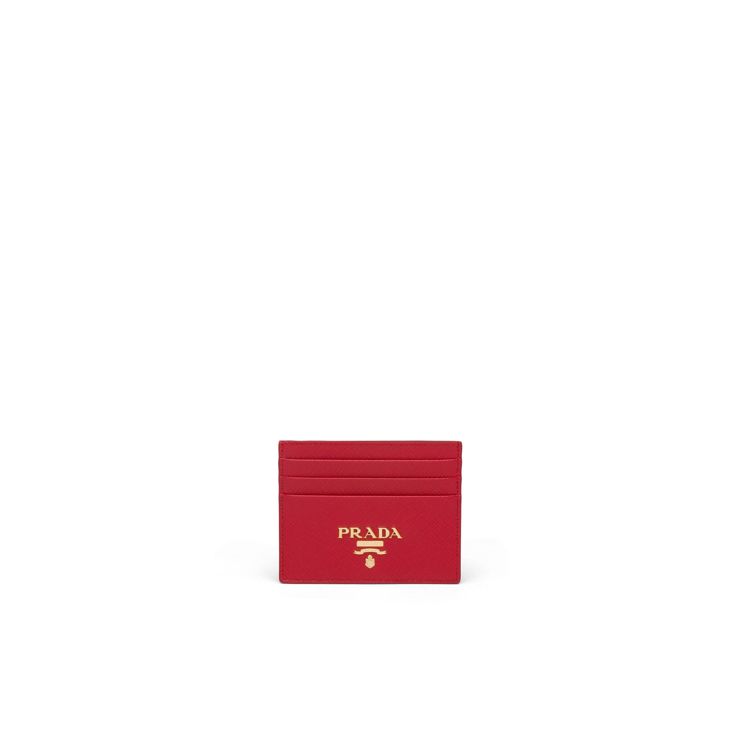 Saffiano Leather Card Holder Women Fiery Red
