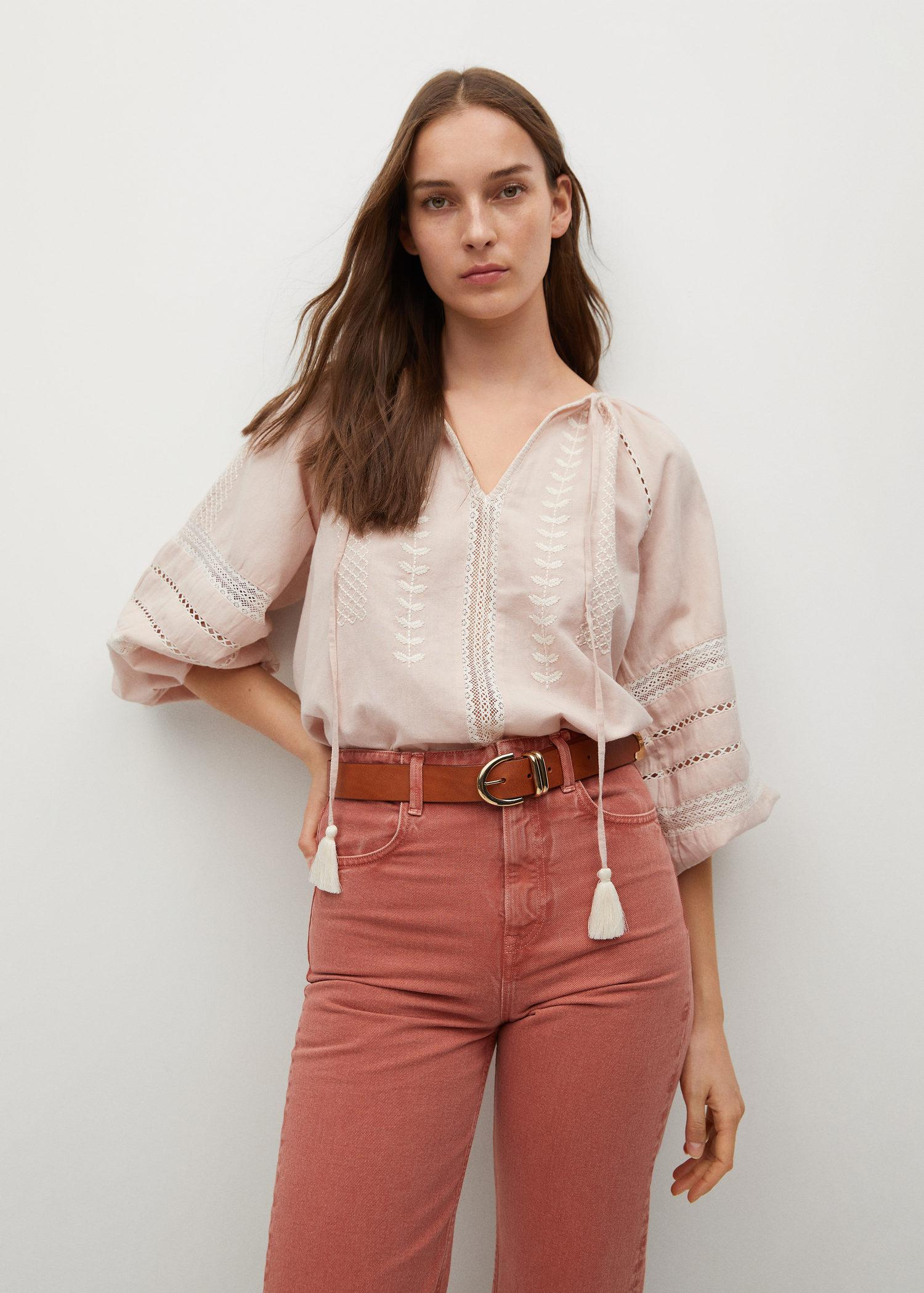 Cotton linen embroidered blouse