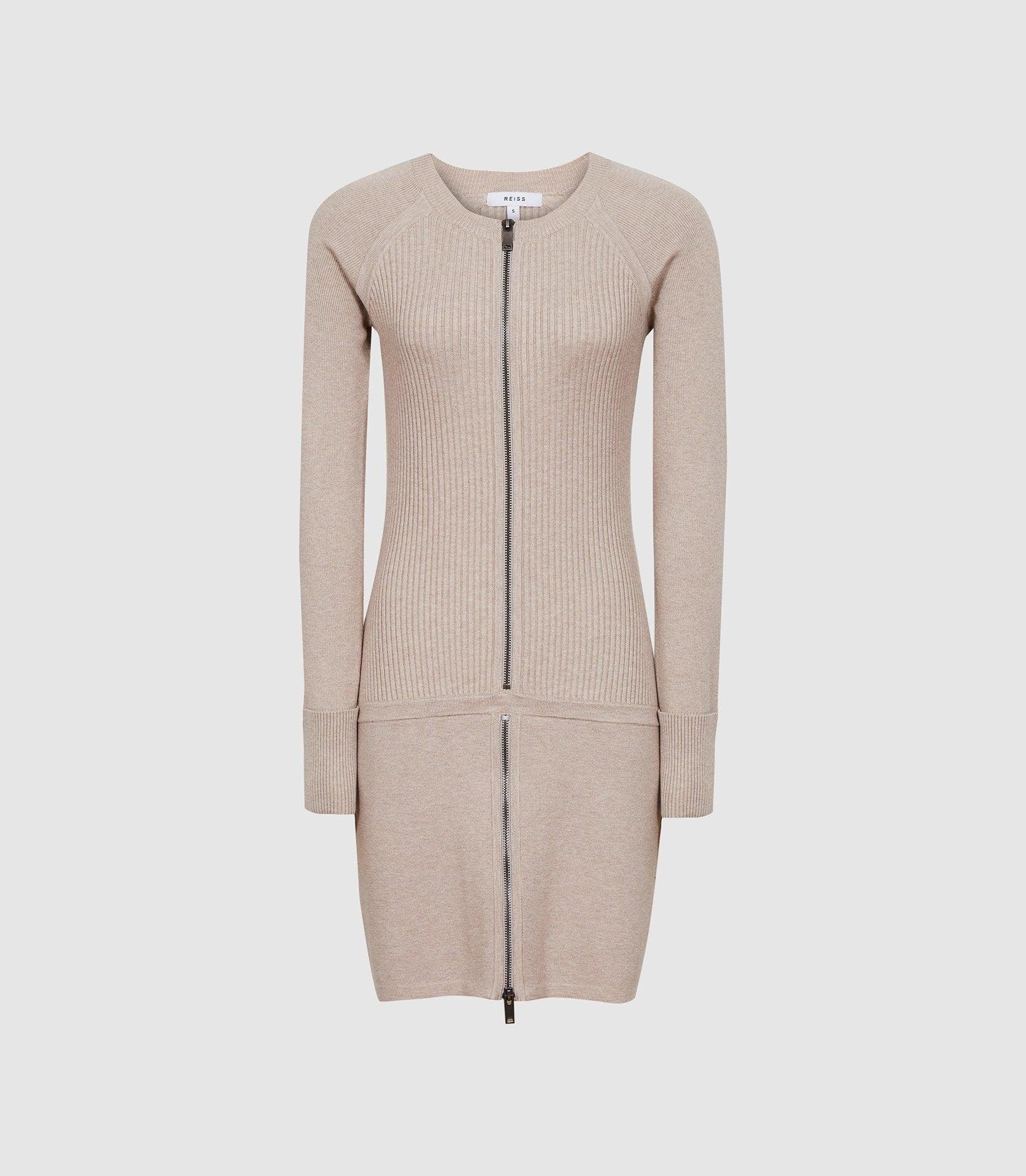 ASHLEIGH - KNITTED BODYCON DRESS WITH ZIP DETAIL 4