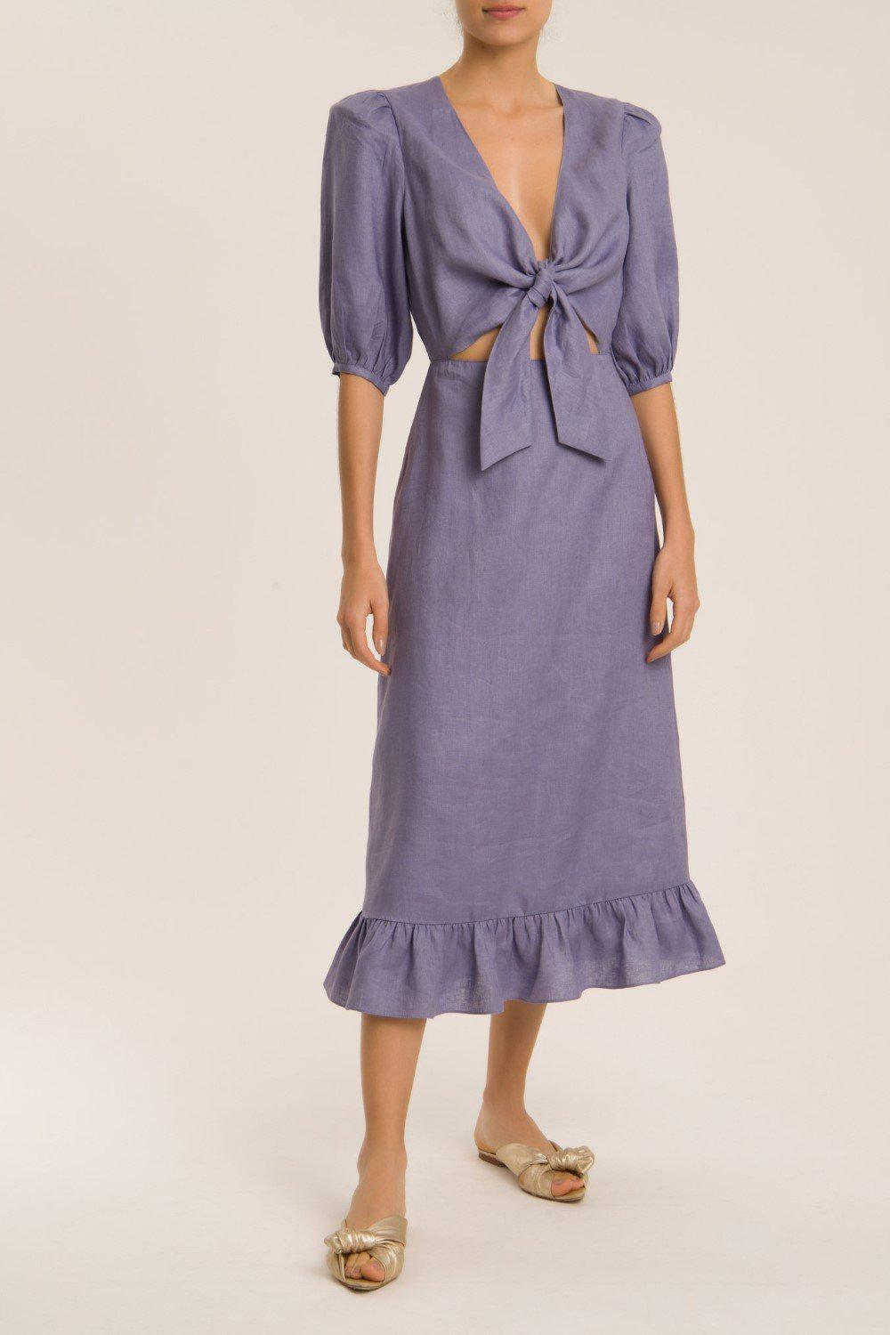 Solid Puff-Sleeved Midi Dress And Knot