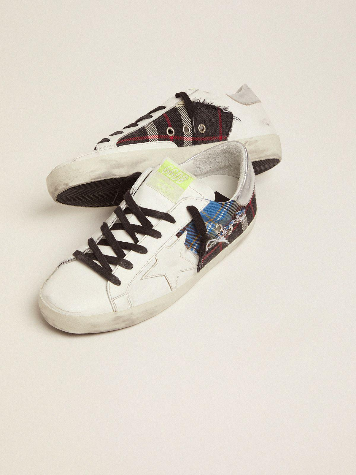 Women's Limited Edition LAB white Super-Star sneakers with tartan insert 2