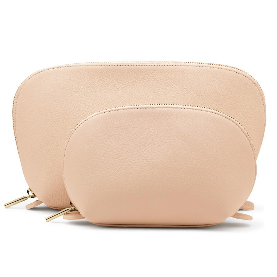 Women's Leather Travel Case Set in Blush Pink | Pebbled Leather by Cuyana