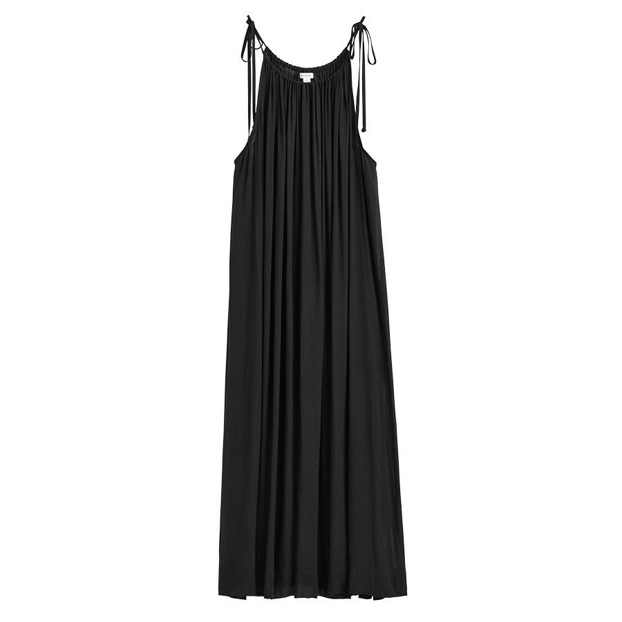 Women's Gathered-Neck Maxi Coverup in Black | Size: