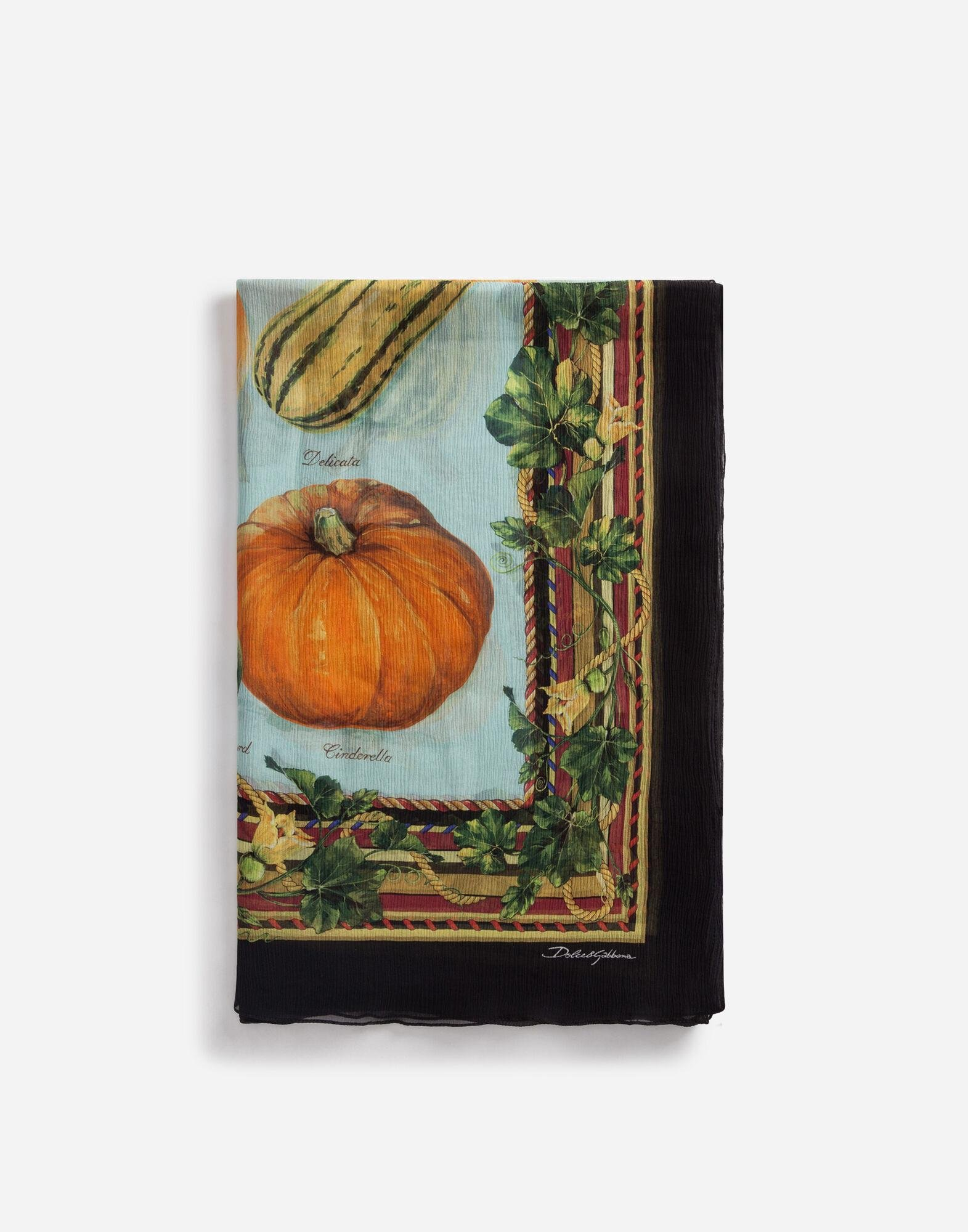 Scarf in crepon with pumpkin print: 120 x 200cm- 47 x 78 inches