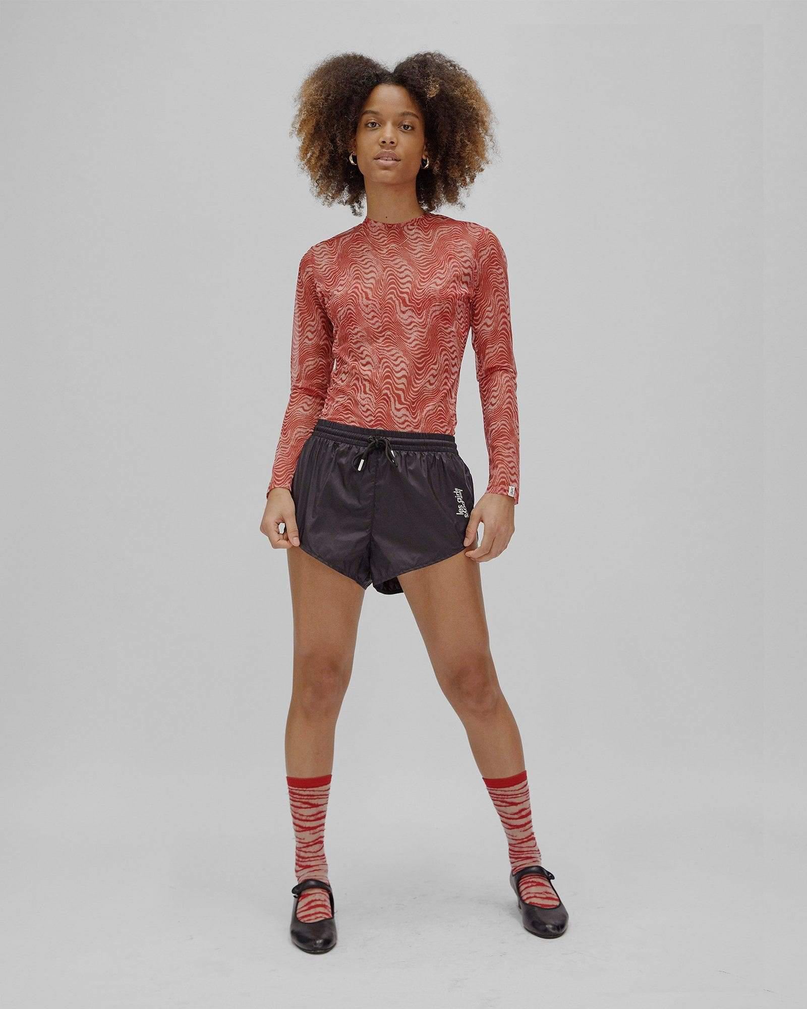 static mesh long sleeve top red/shifting sand