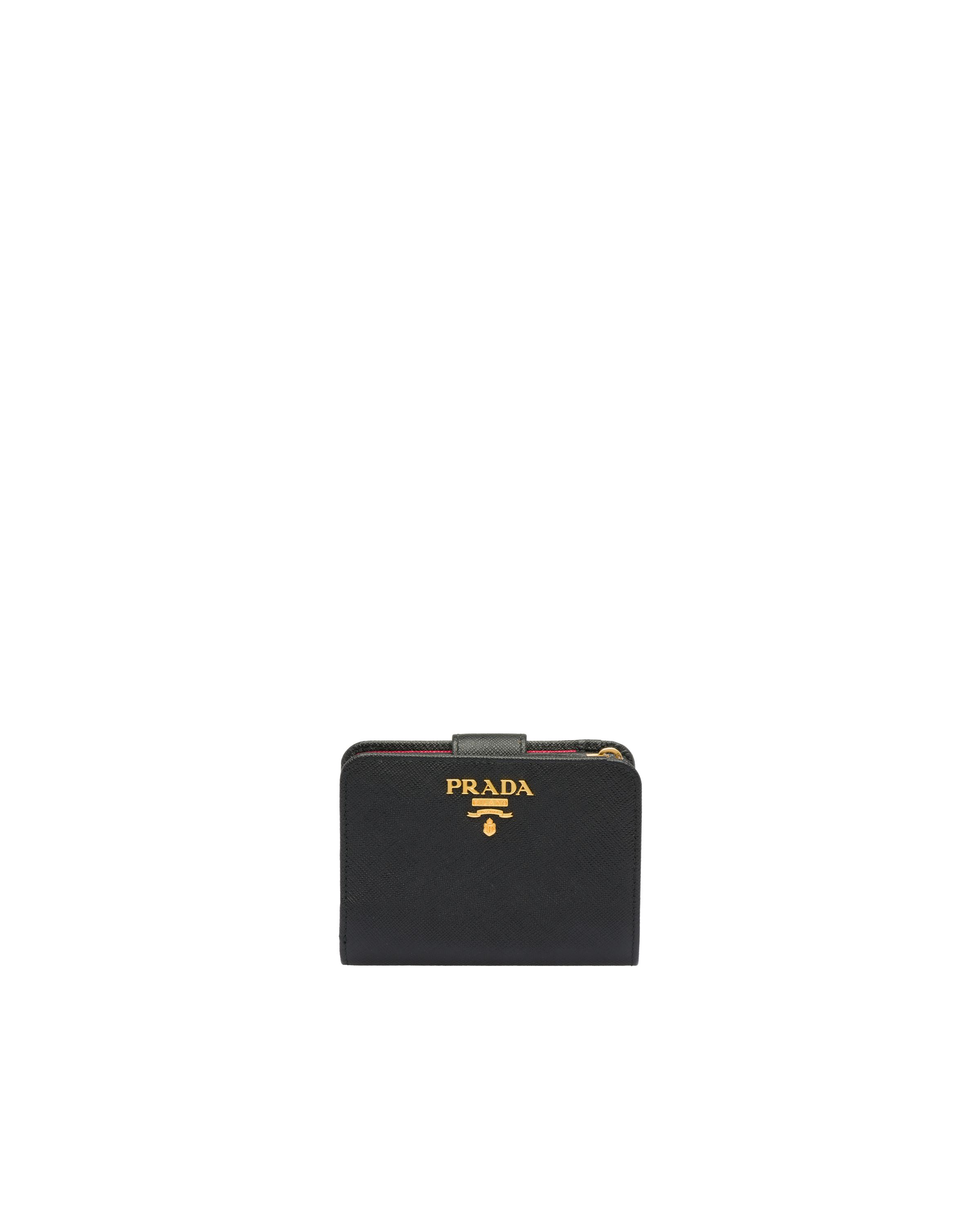 Small Saffiano Leather Wallet Women Black/hibiscus 6