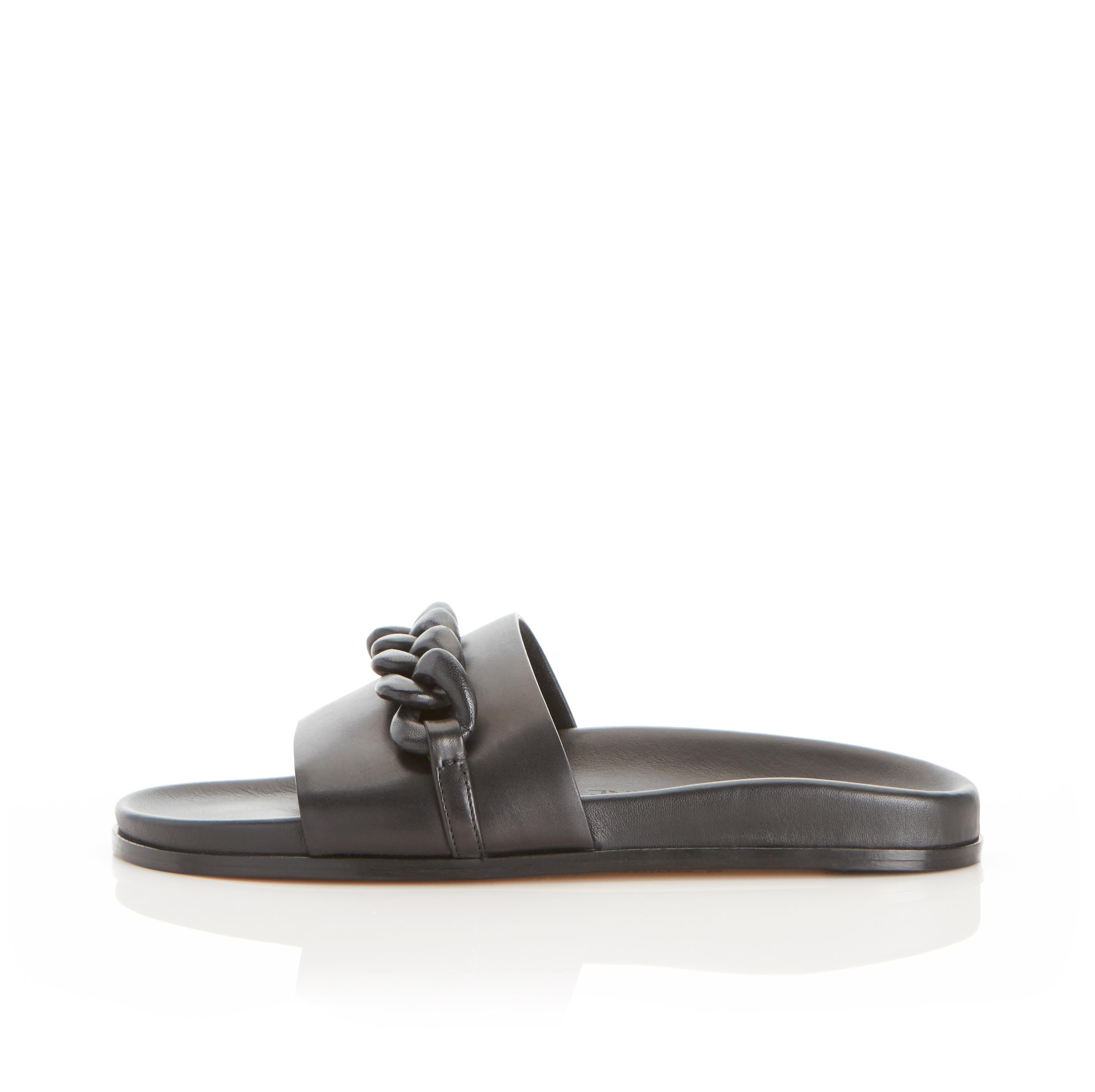 Christine | Leather Chain Sandal with Contoured Footbed