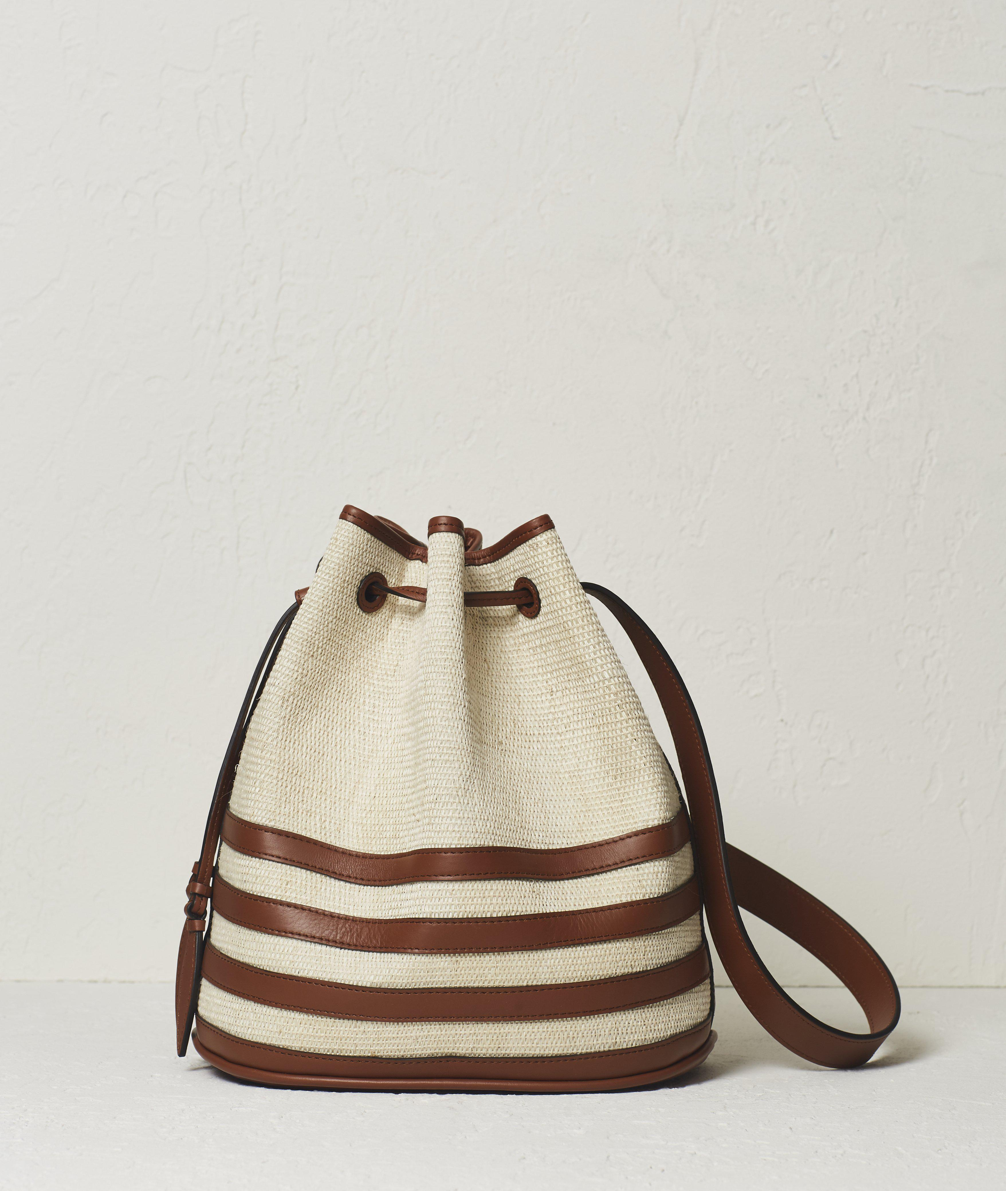 The Drawstring in Woven Iraca Nappa Stripes