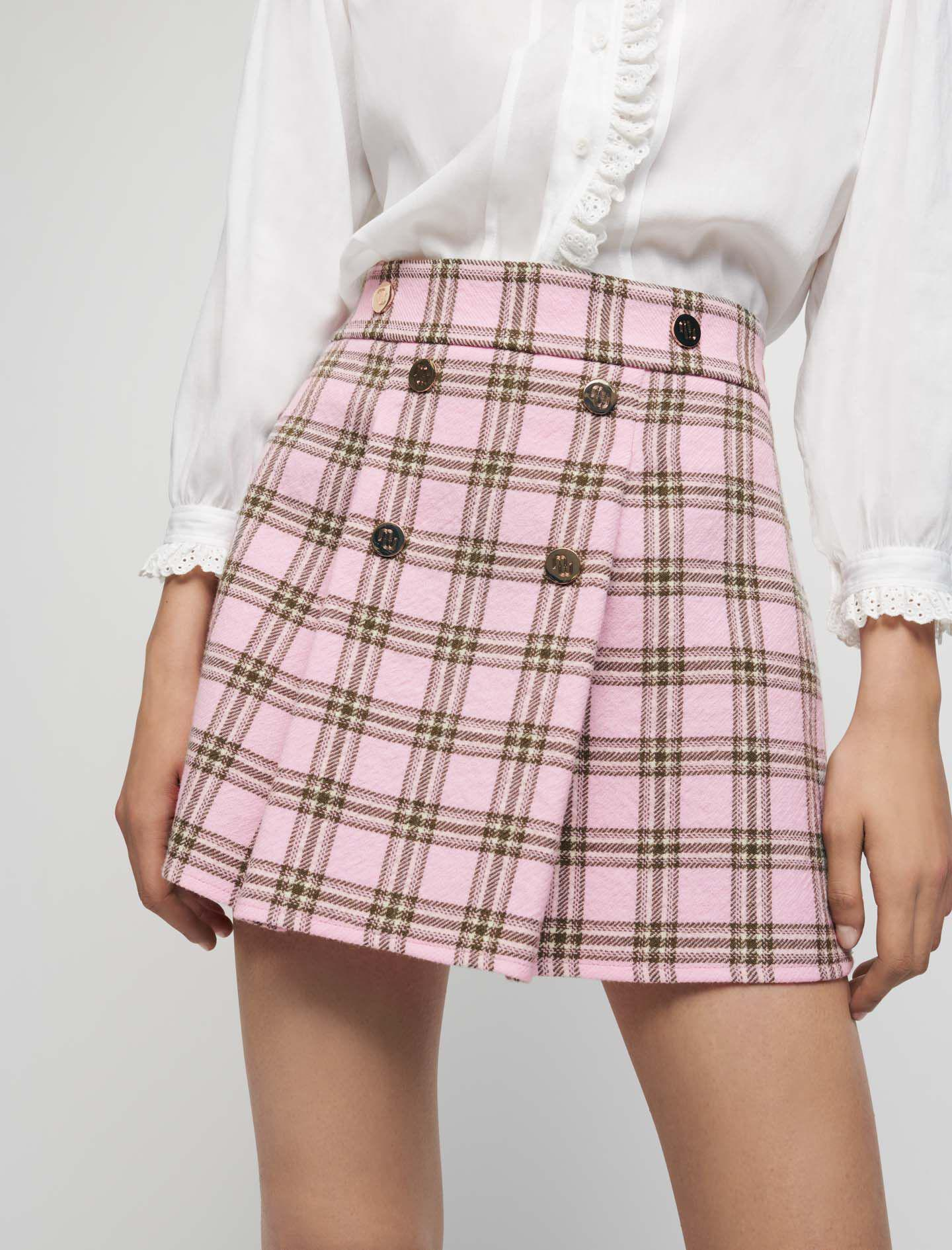 CHECKED PLEATED SKIRT 1