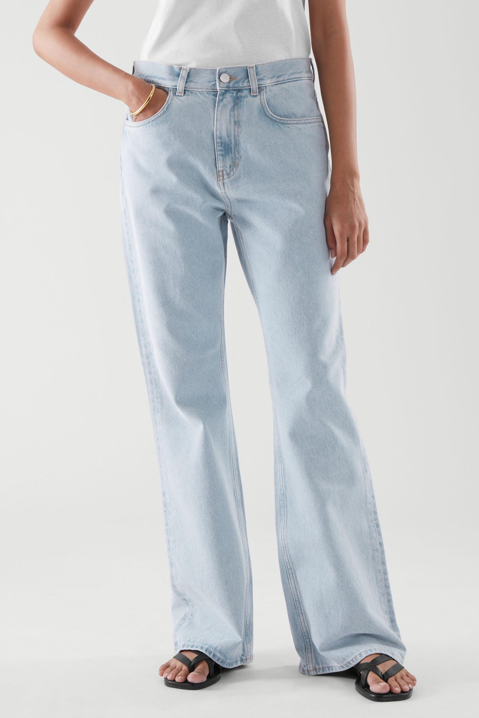 FLARED RECYCLED COTTON DENIM PANTS 1