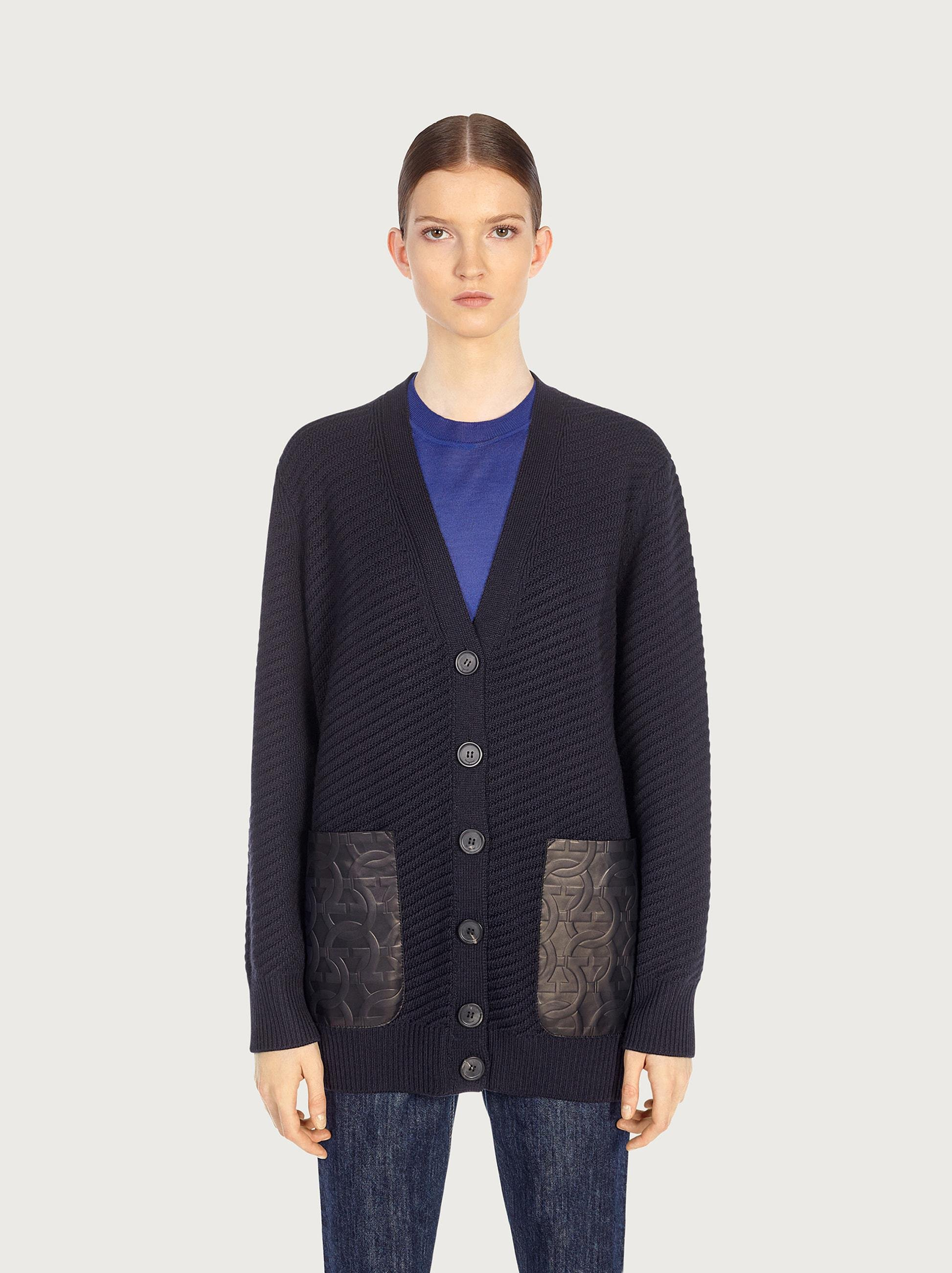 CARDIGAN WITH LEATHER POCKETS