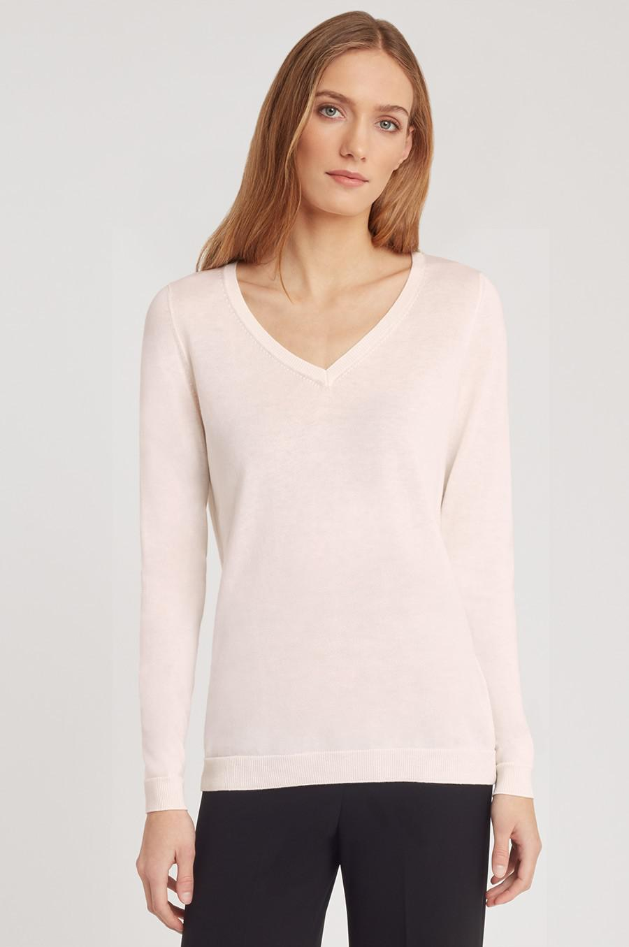 Women's Classic Cotton Cashmere V-Neck Sweater in Blush Pink   Size: 1
