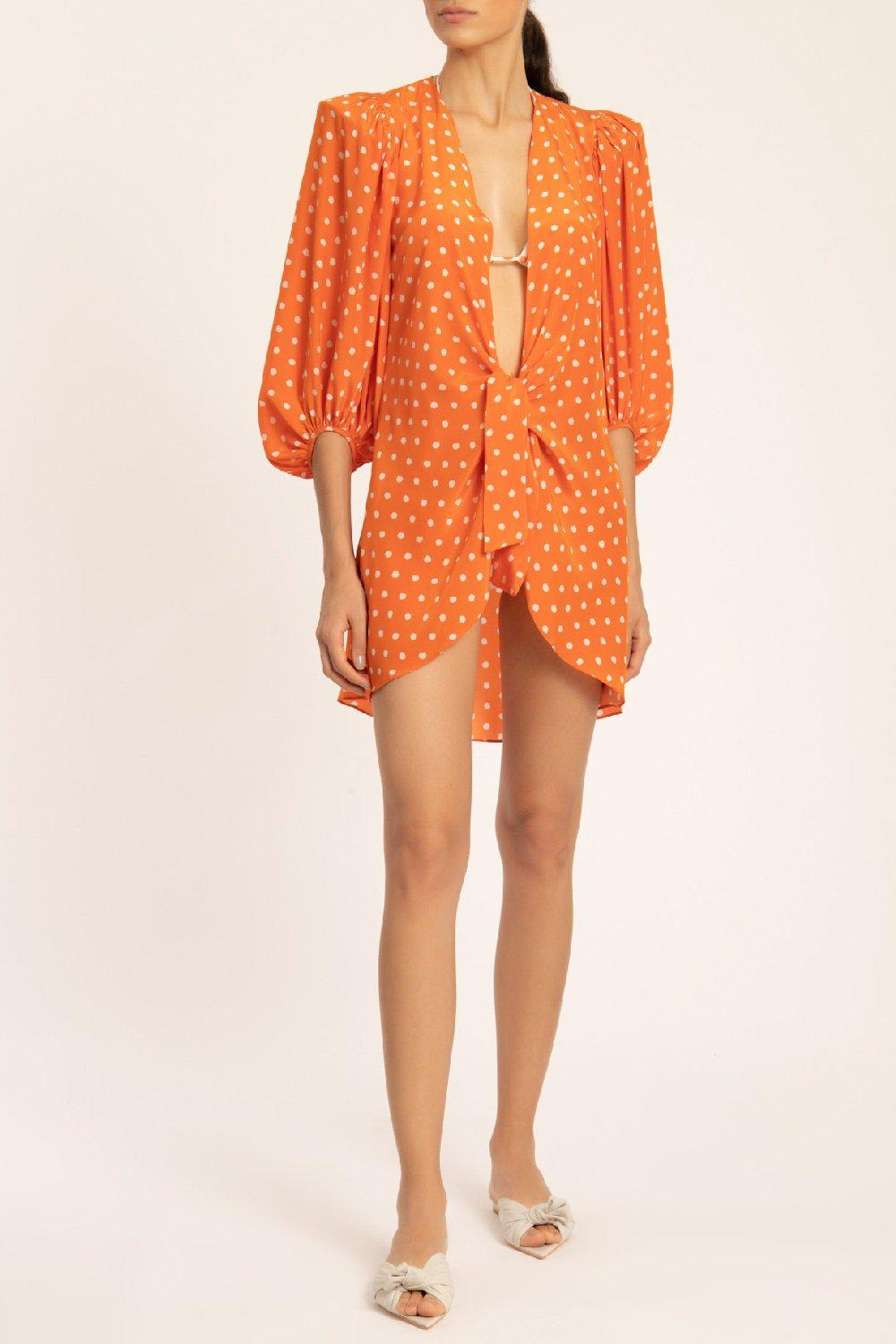 Tangerine Pois Shirt With Voluminous Sleeves And Knot