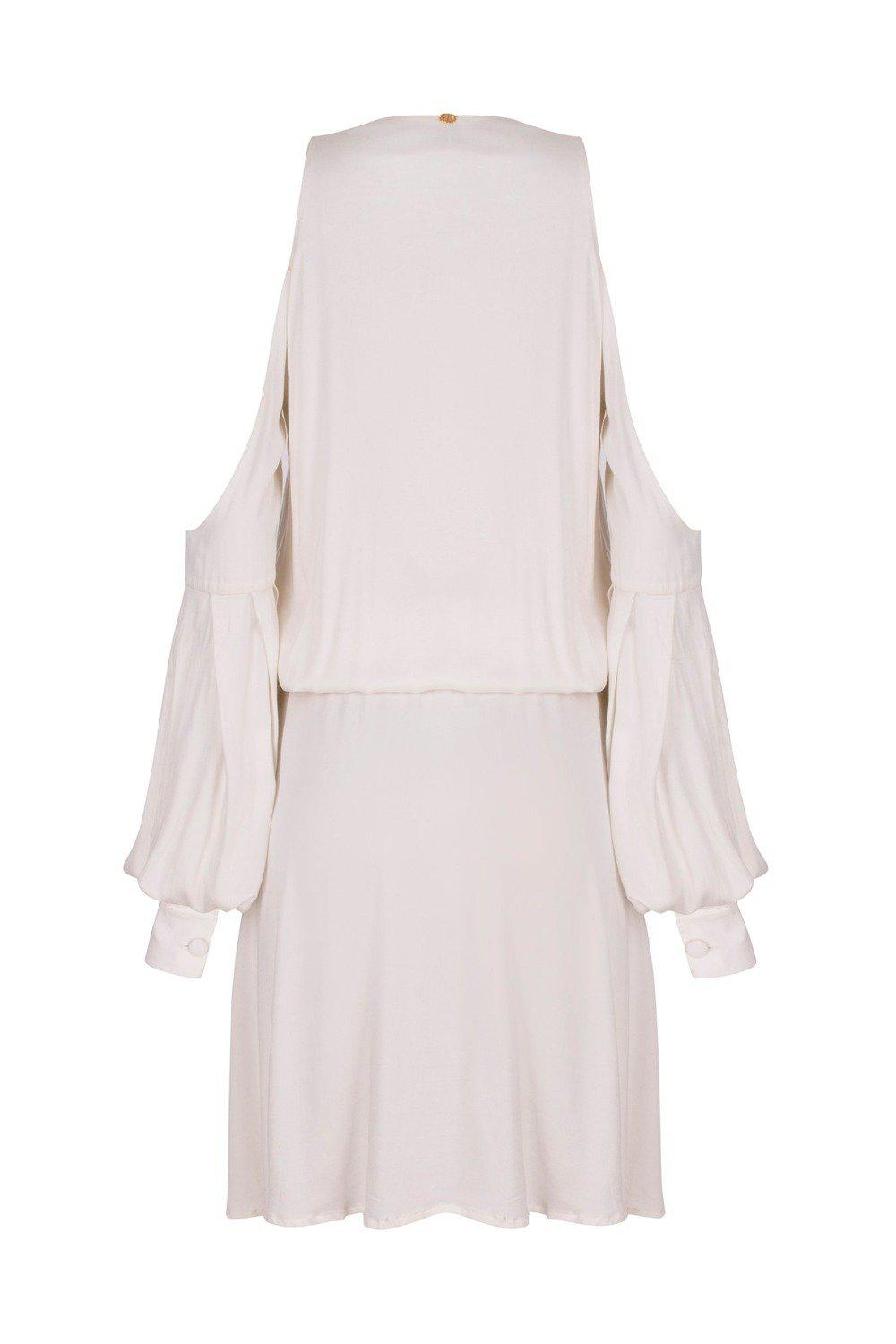 Horse Skin Solid Short Dress with Bare shoulders and Tassels 1