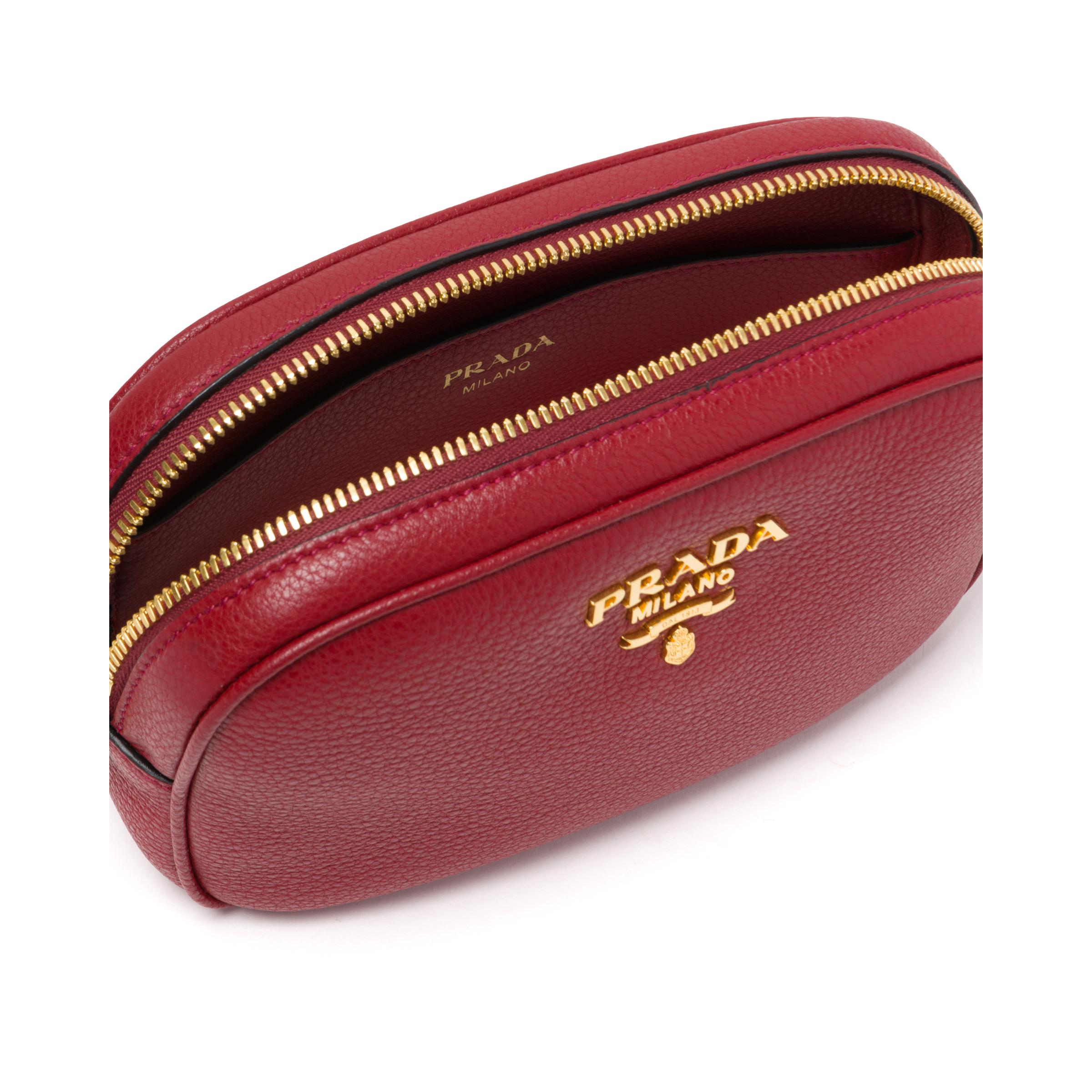 Leather Belt Bag Women Ruby Red 4
