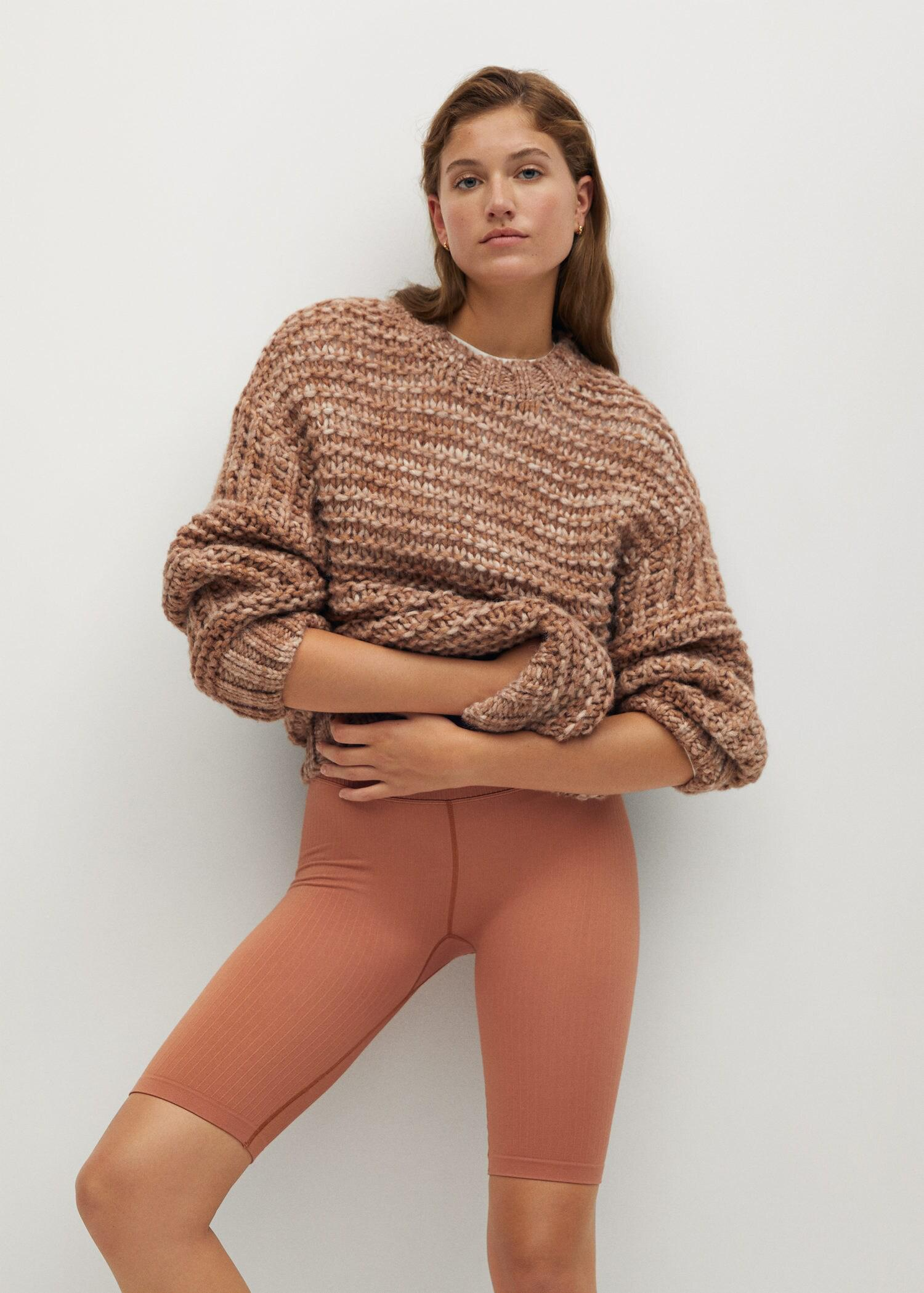 Open chunky-knit sweater