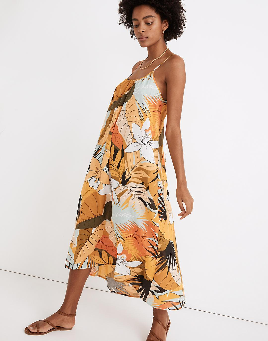 Tie-Back Cover-Up Maxi Dress in Tropical Vacation