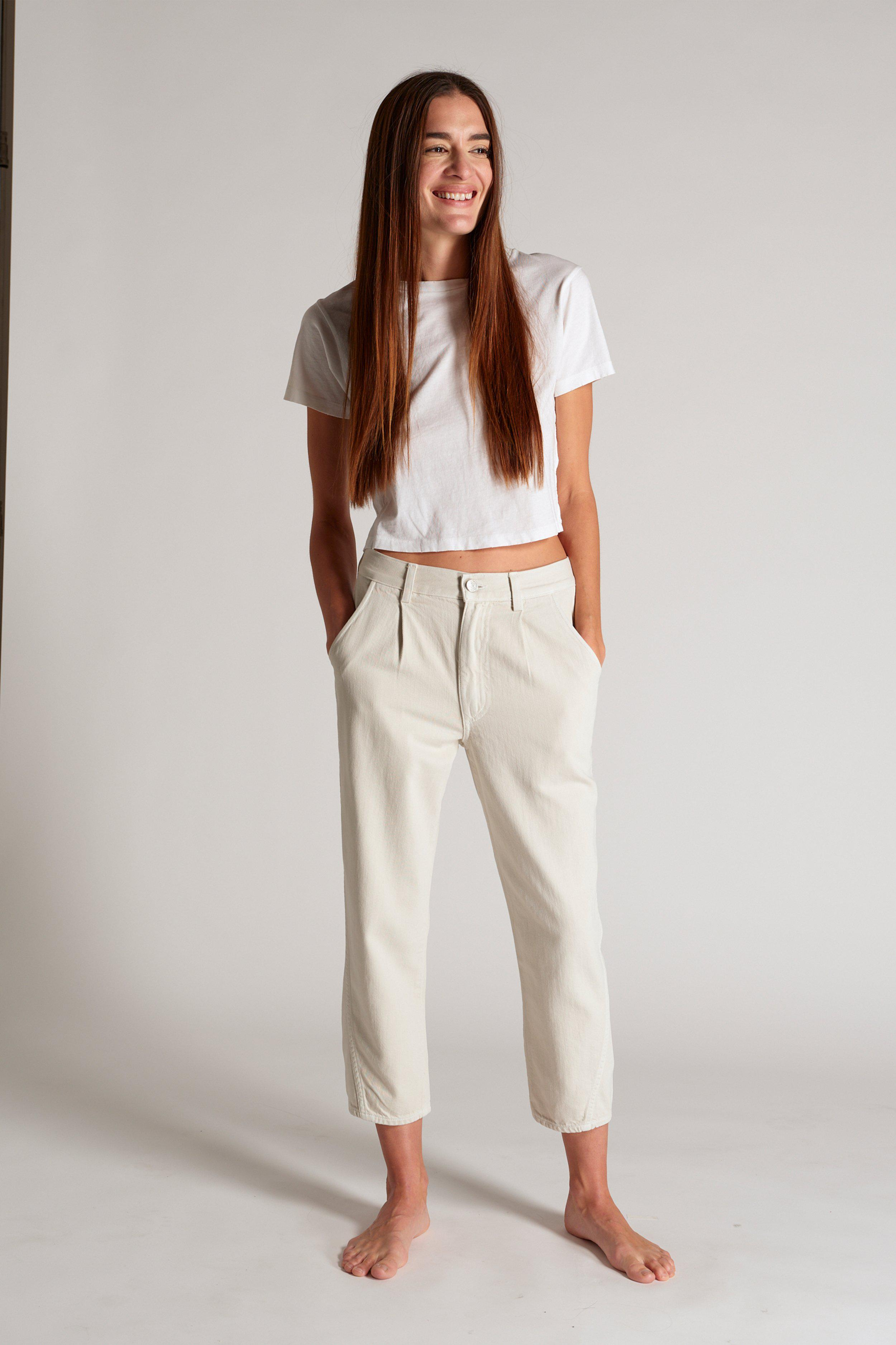 PLEATED SLOUCH TROUSER VINTAGE WHITE 1