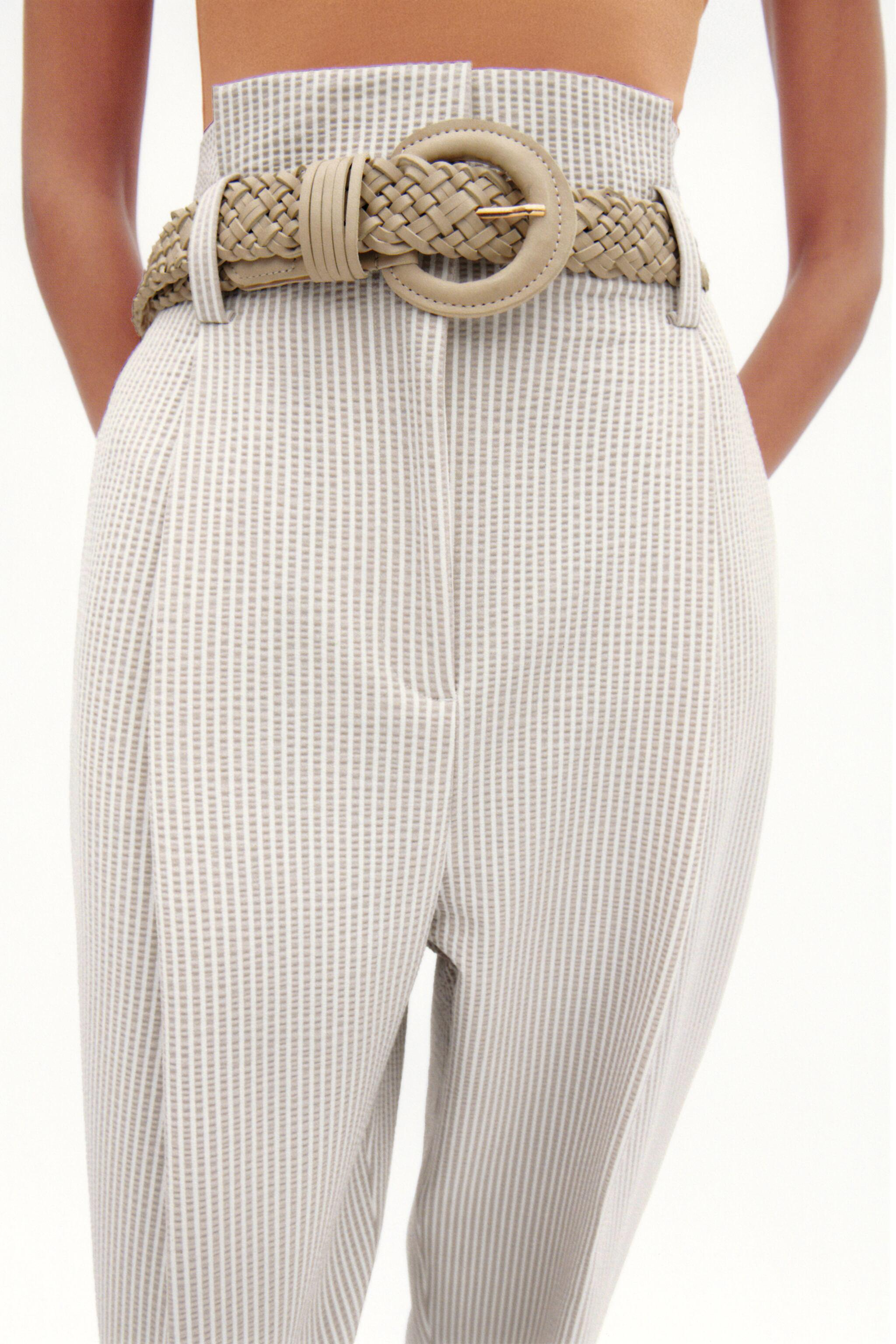 BELTED STRIPED PANTS 1