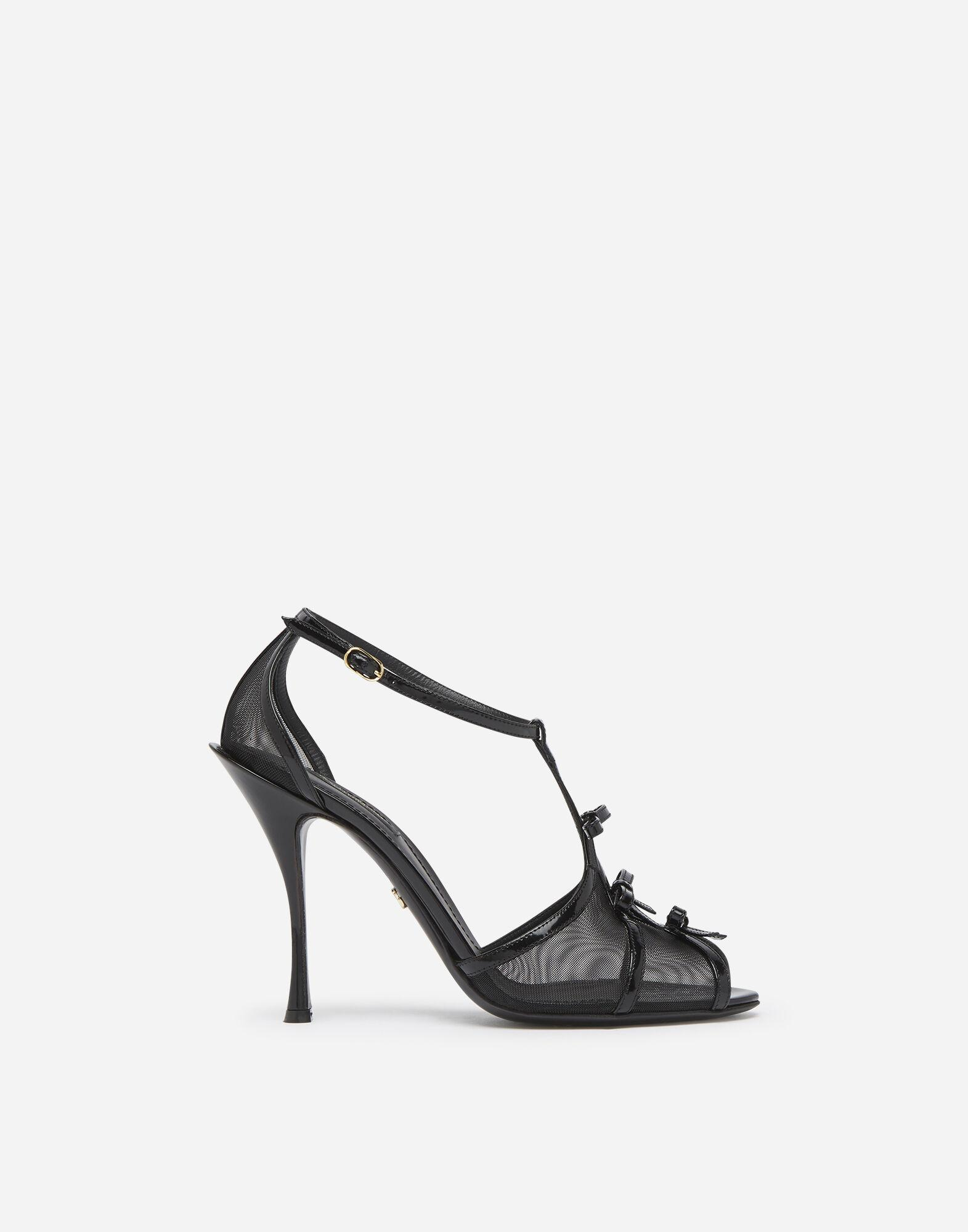 Polished calfskin and mesh sandals with small bows