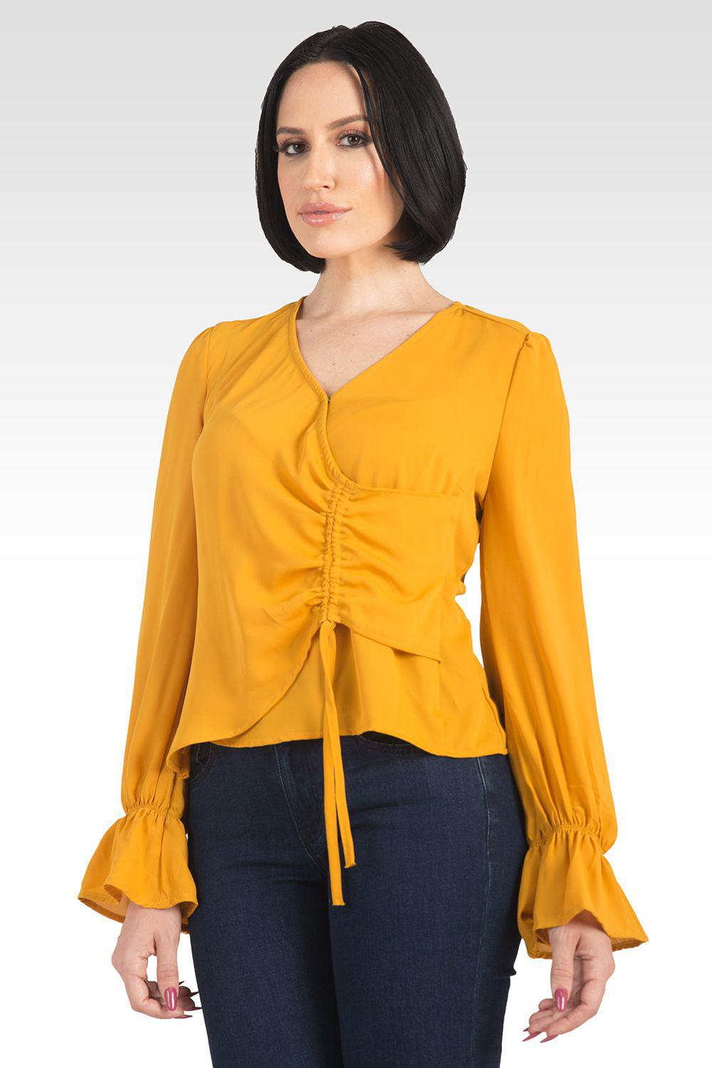 Vera Solid Tie Front Flute Sleeve Blouse - Ginger 3