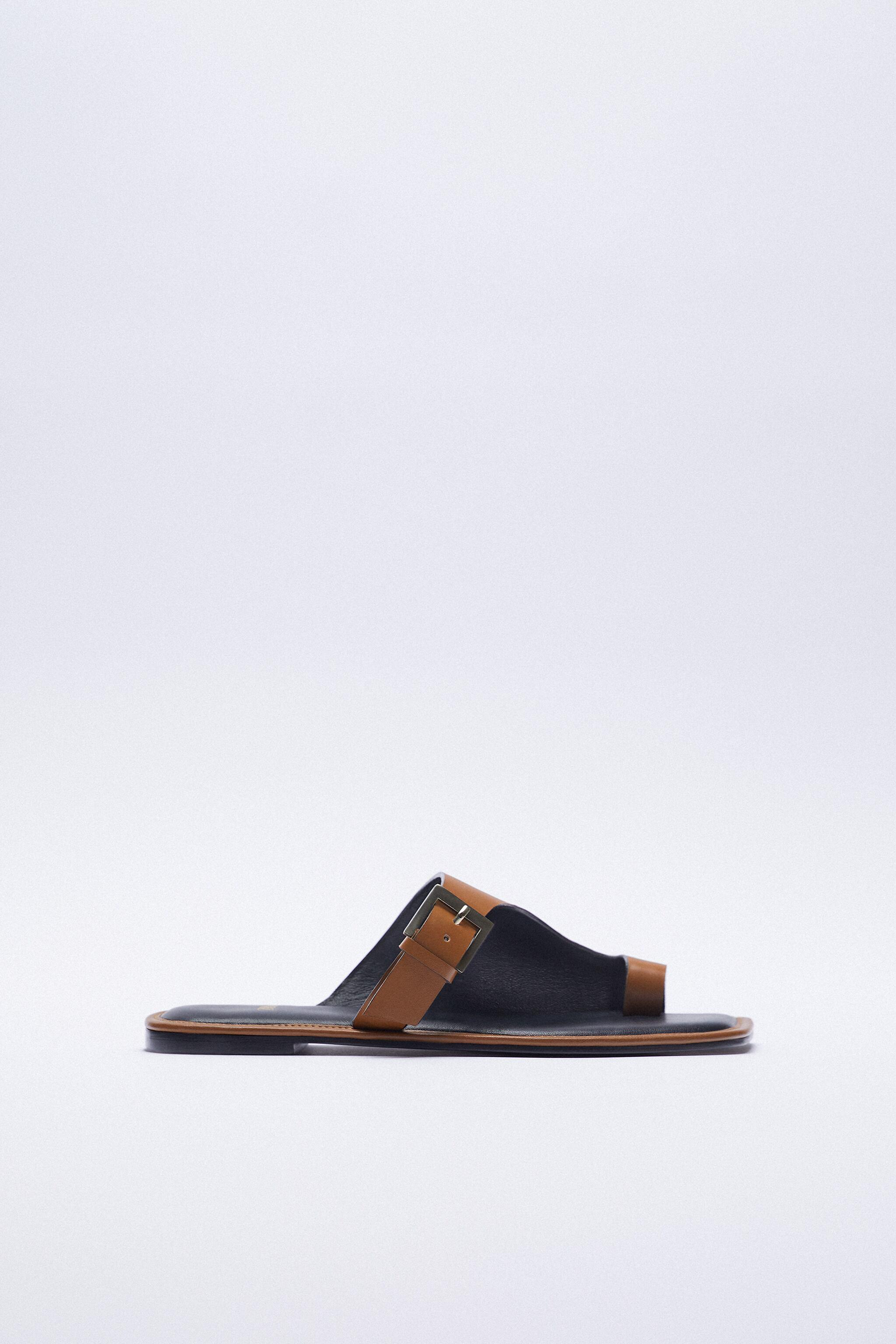 ASYMMETRICAL LEATHER SLIDE SANDALS WITH BUCKLE 6
