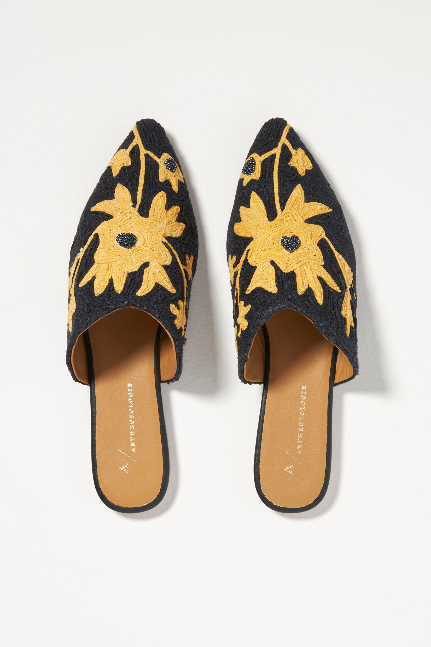 Embroidered Floral Mules 1