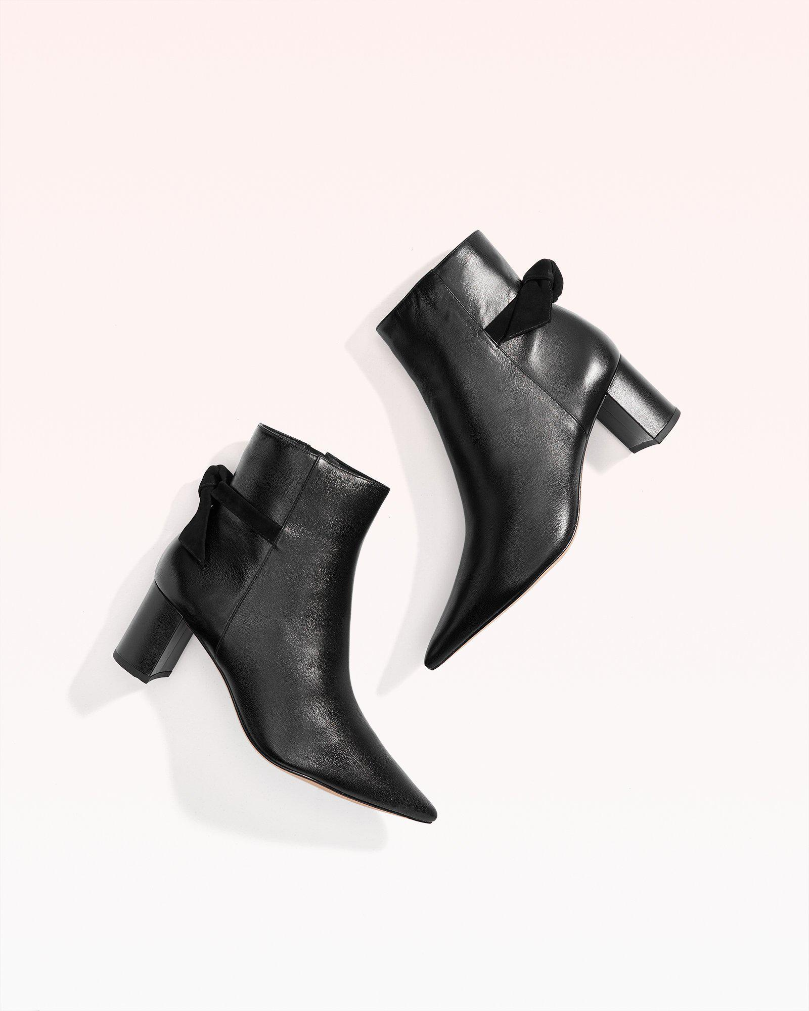 Clarita Pointed Toe Leather & Suede Bootie 1
