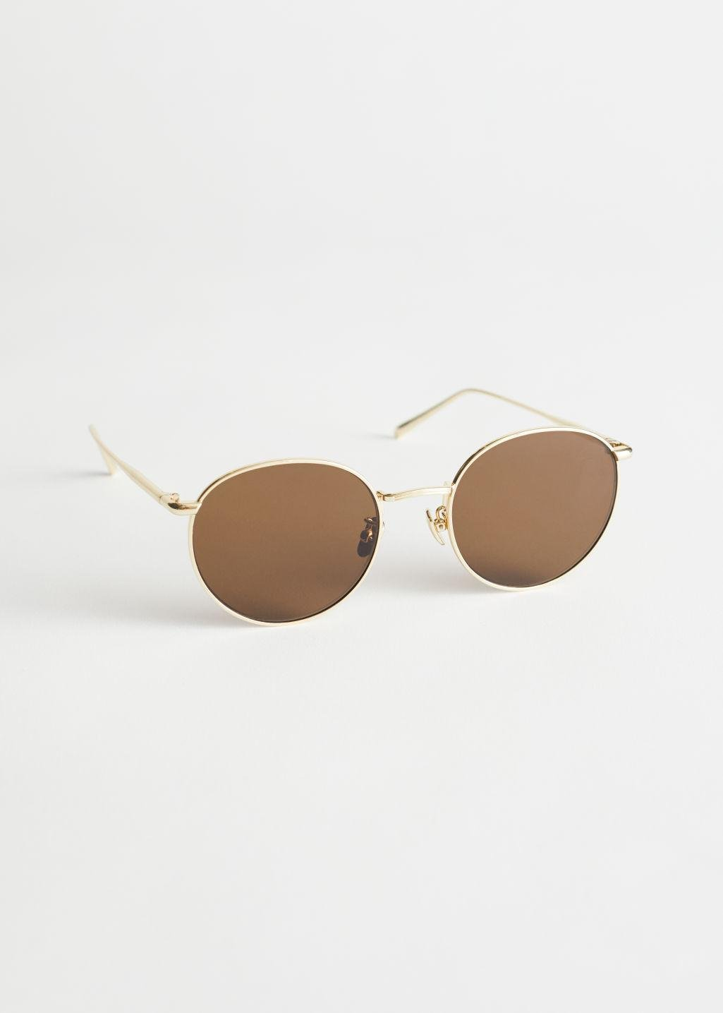 Rounded Gold Frame Sunglasses