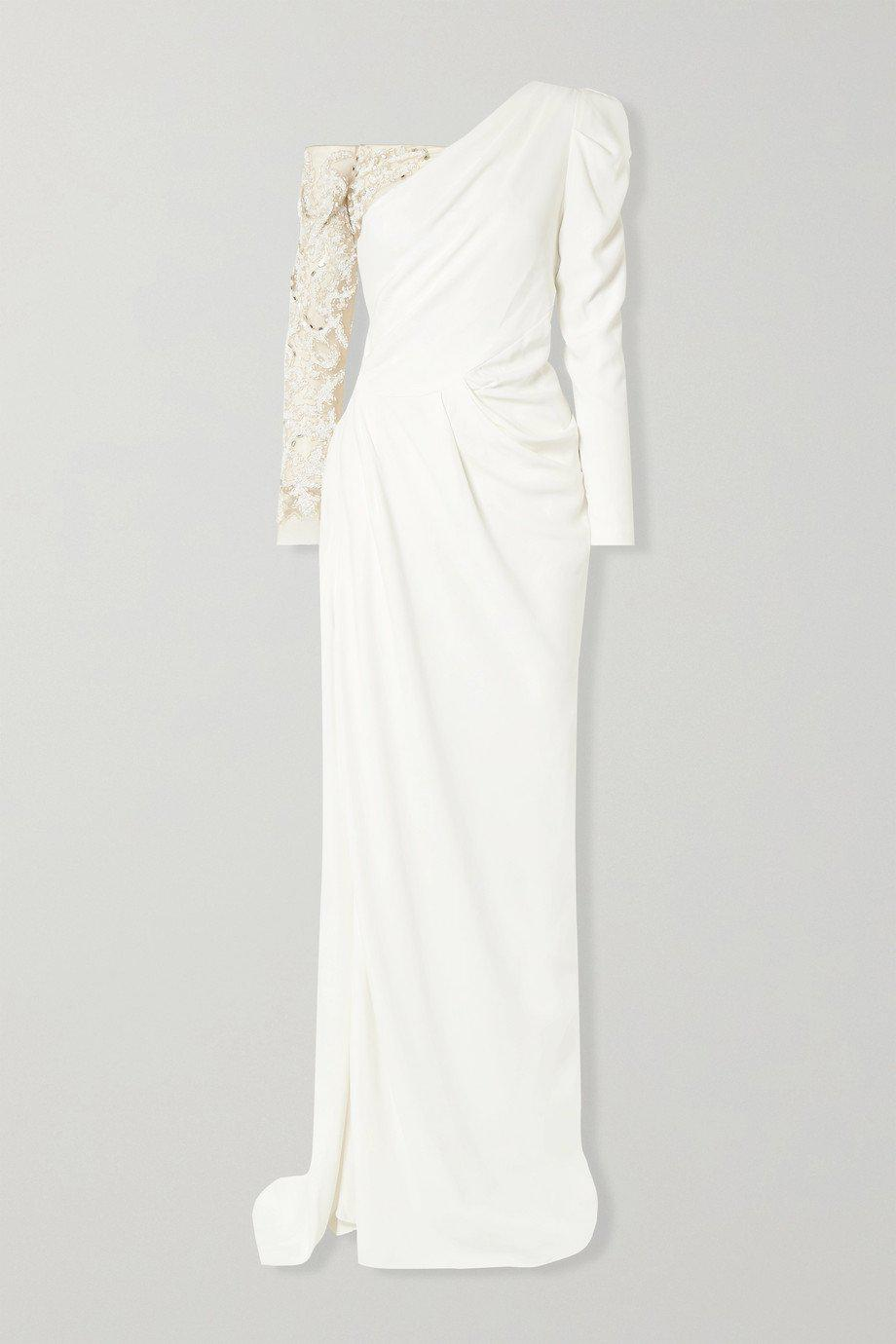 DRAPED CREPE EMBROIDERED GOWN 2