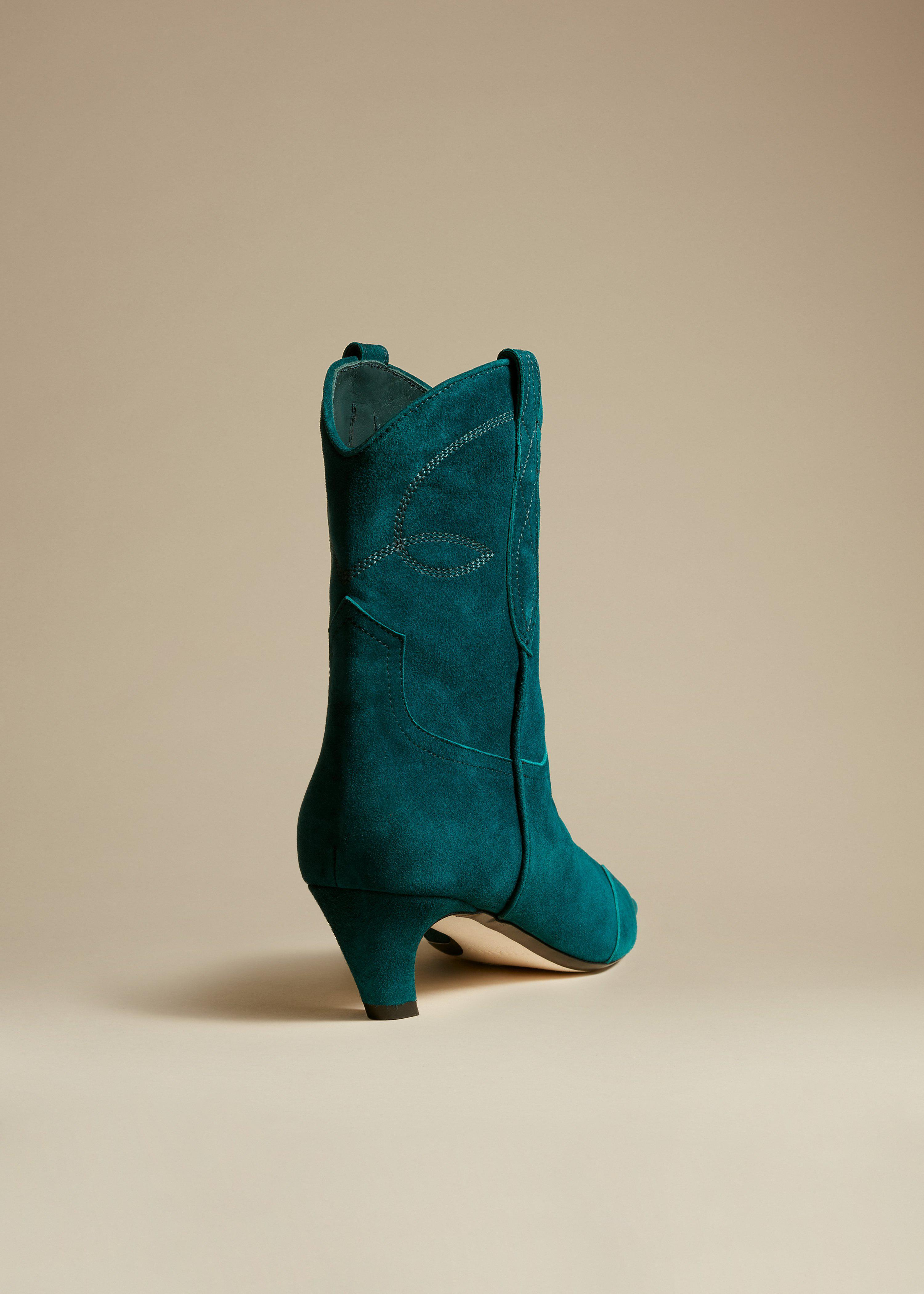 The Dallas Ankle Boot in Dark Teal Suede 2