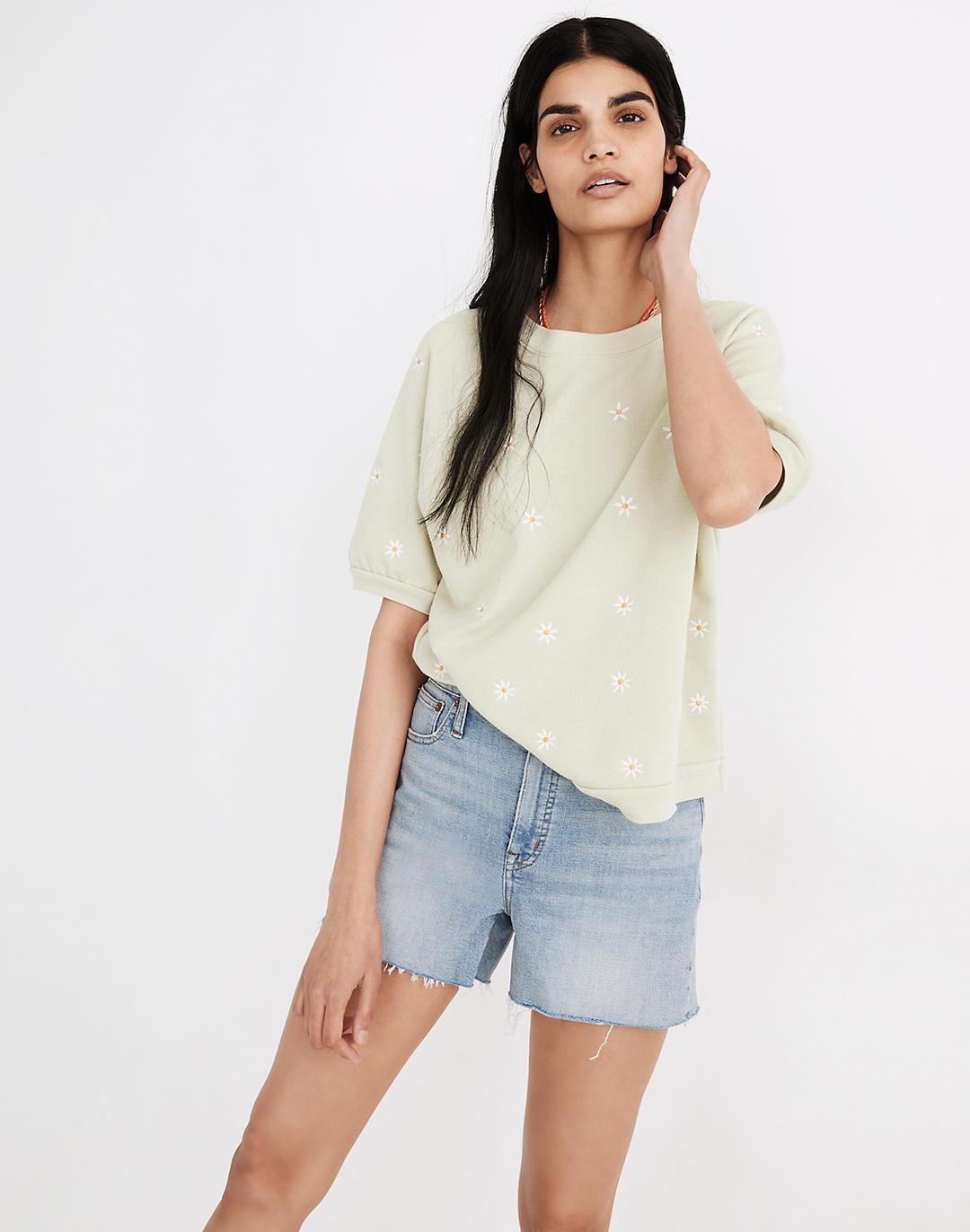 Daisy Embroidered Short-Sleeve Sweatshirt