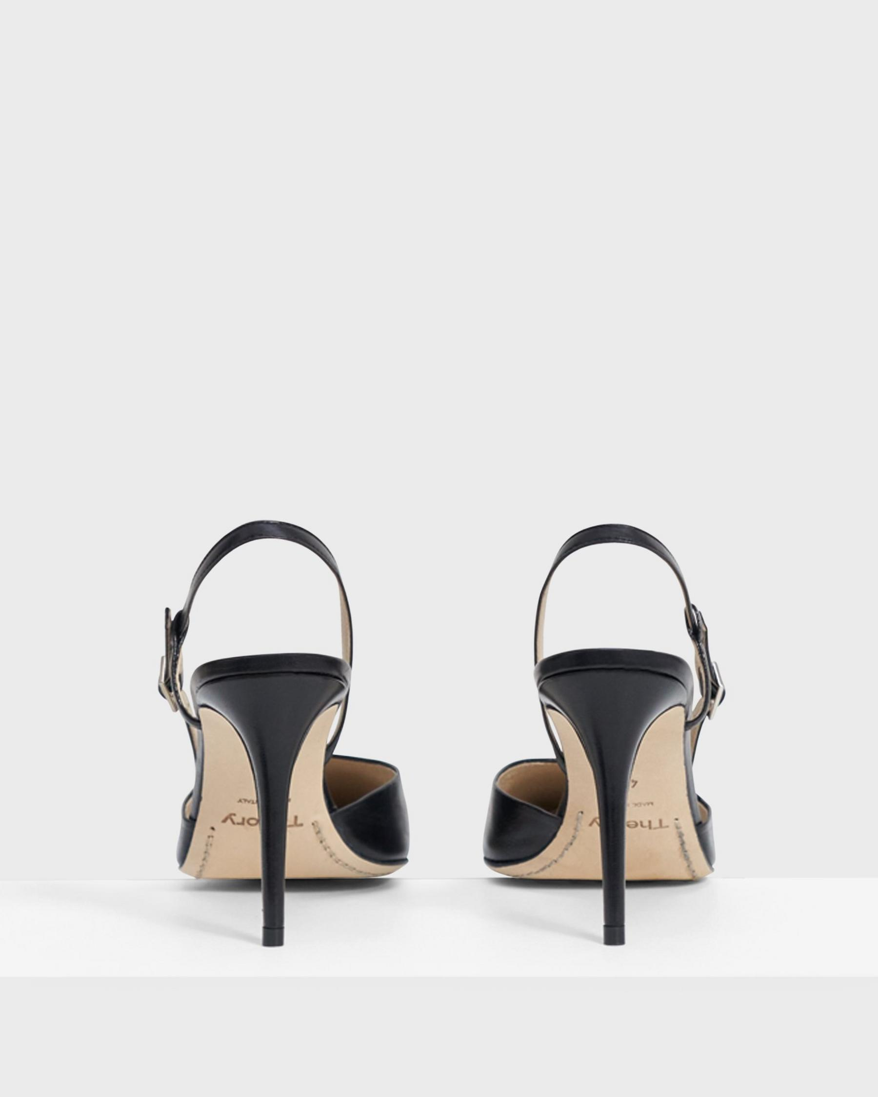 Buckled Mid-Heel Sandal in Leather 1