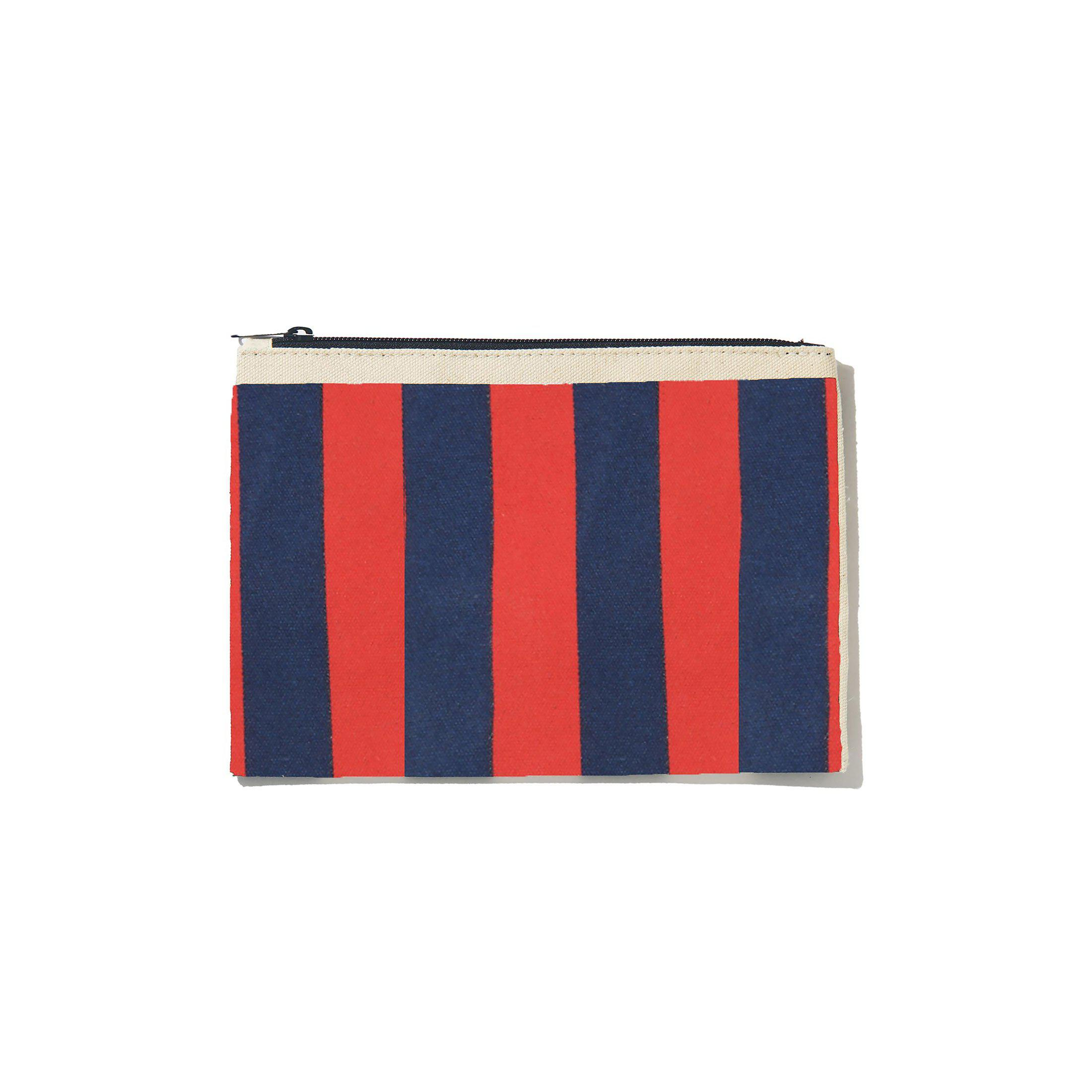 The All Over Striped Pouch - Navy/Poppy