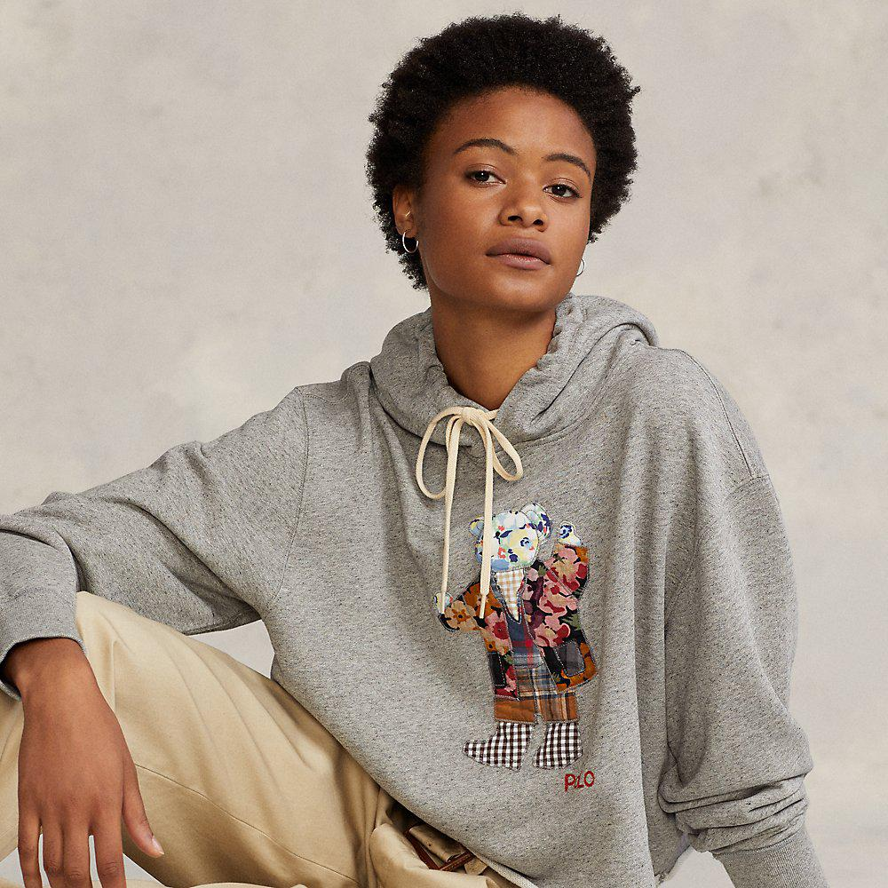Quilted Bear Cropped Fleece Hoodie
