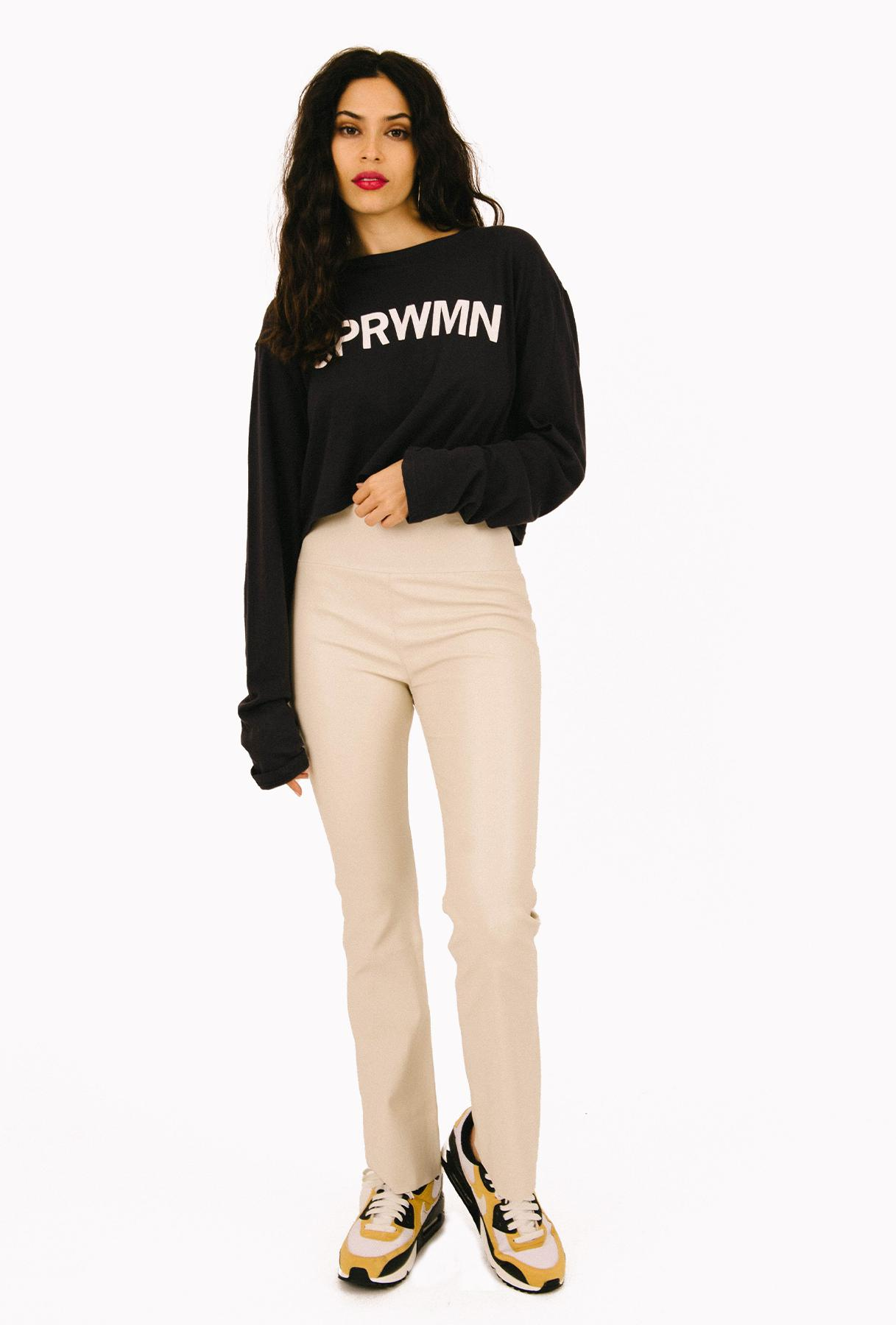 Off White Leather Ankle Flare Legging