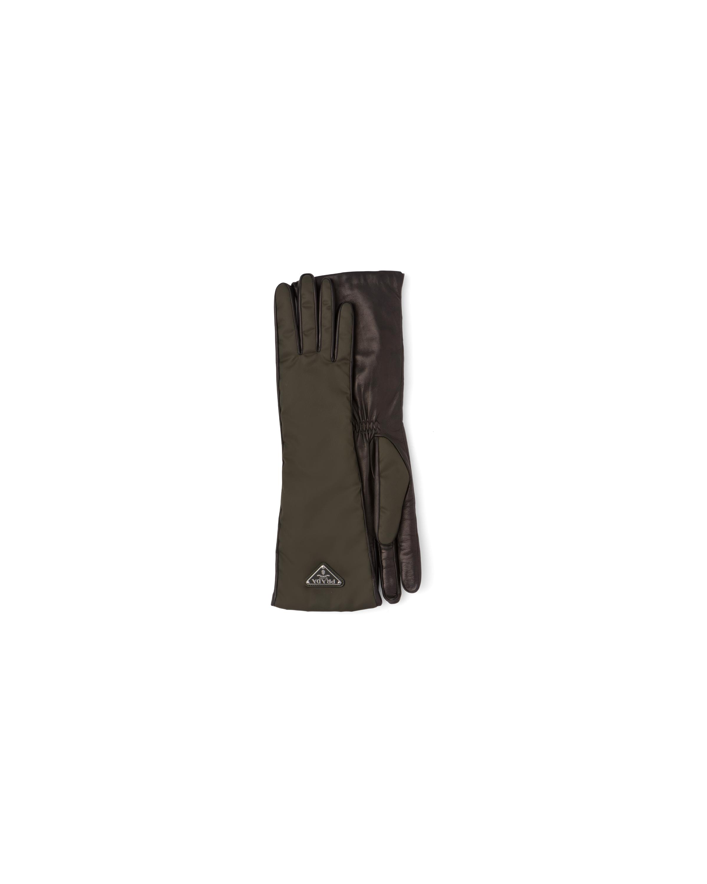Nylon And Nappa Leather Gloves Women Camouflage/black 3