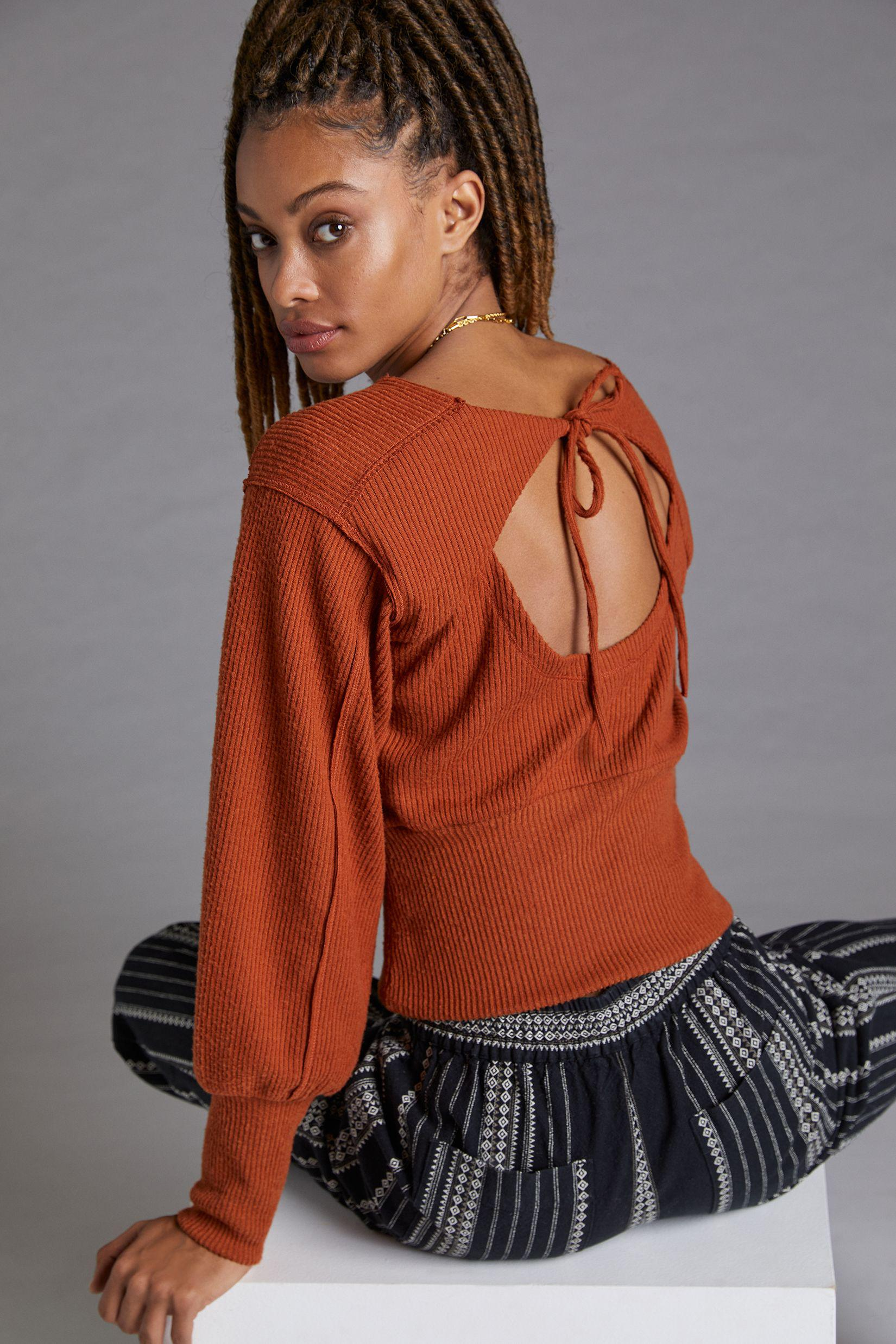 Puff-Sleeved Open-Back Top