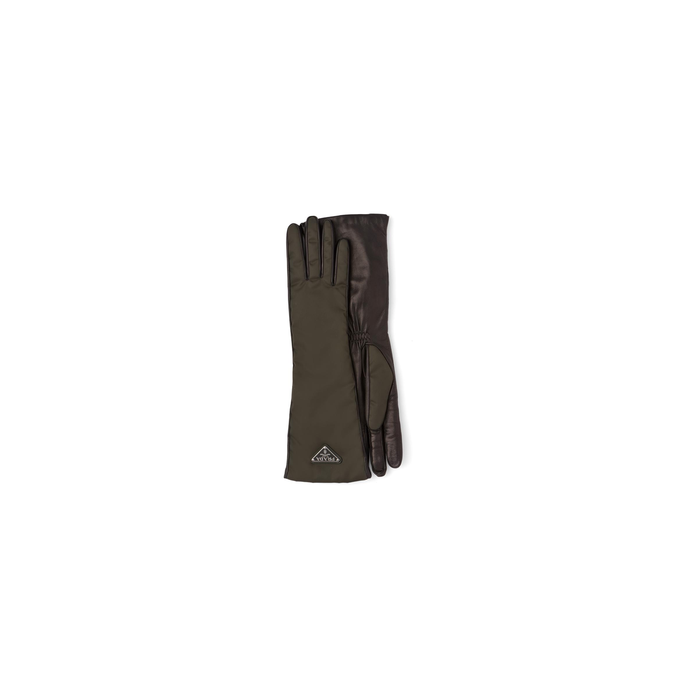 Nylon And Nappa Leather Gloves Women Camouflage/black 0
