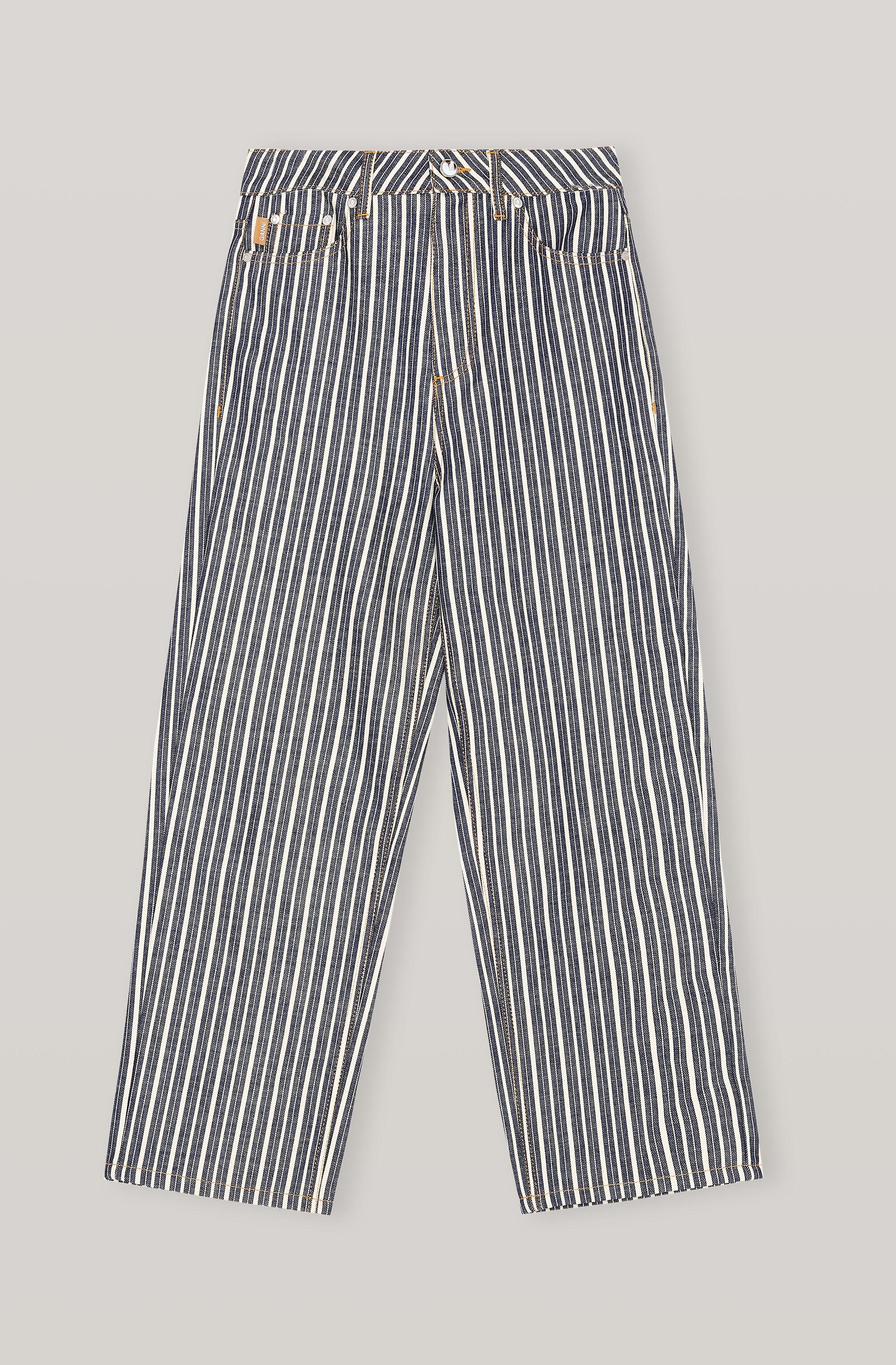 Mixed Stripe Denim High-waisted Cropped Jeans