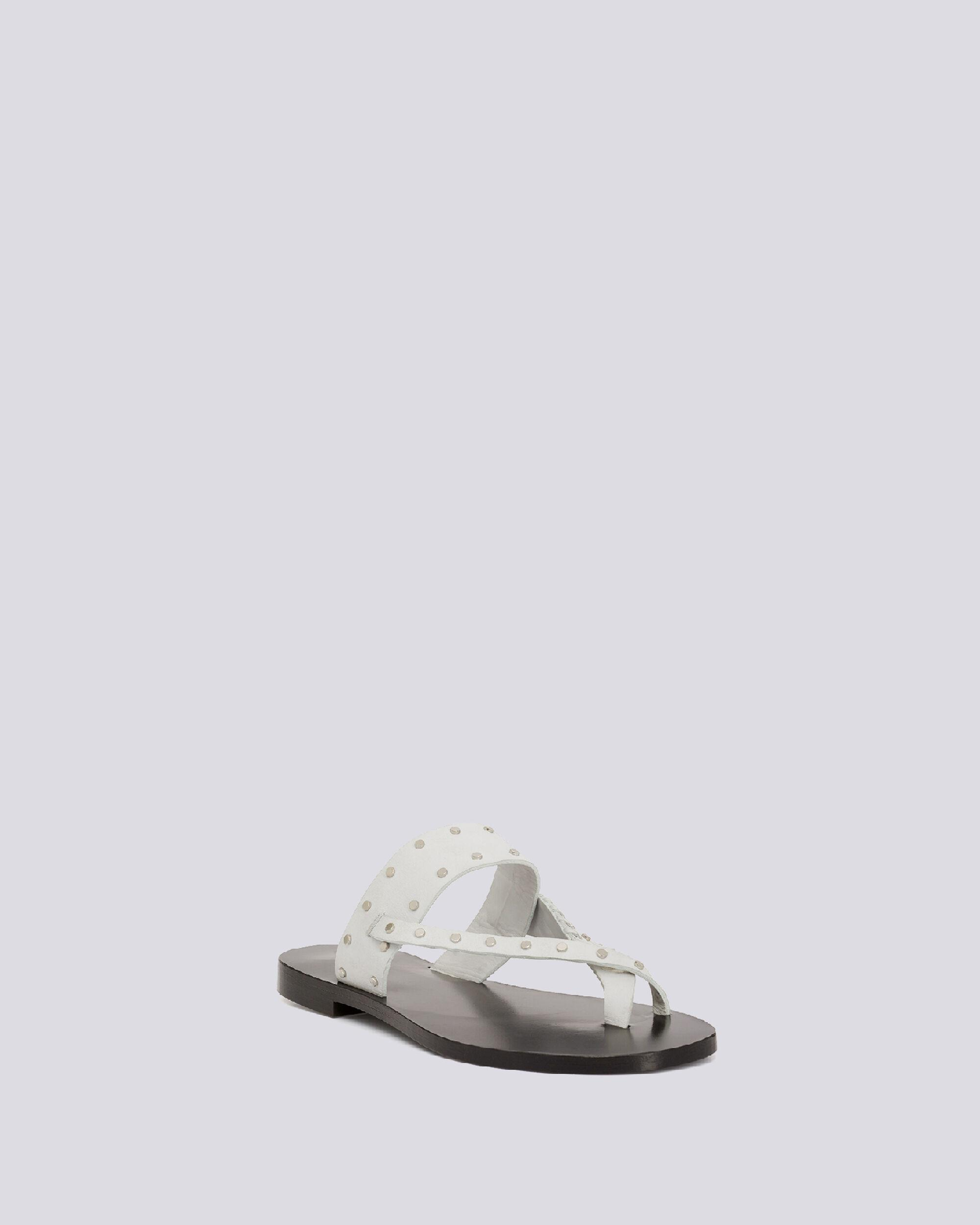 WIKI TOE RING FLAT LEATHER SANDALS 1