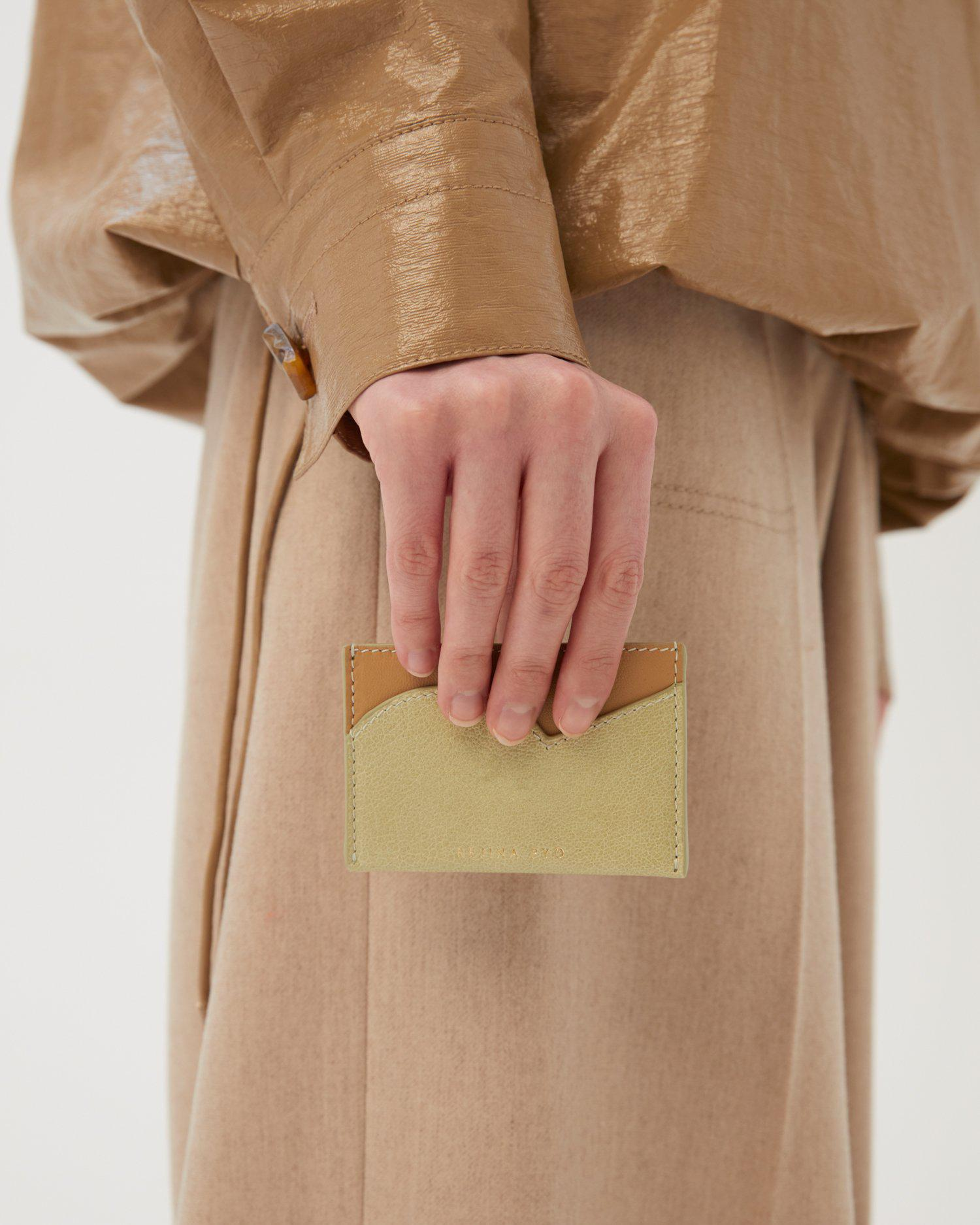 RP Card Holder Leather Citrus Green + Nappa Almond 2
