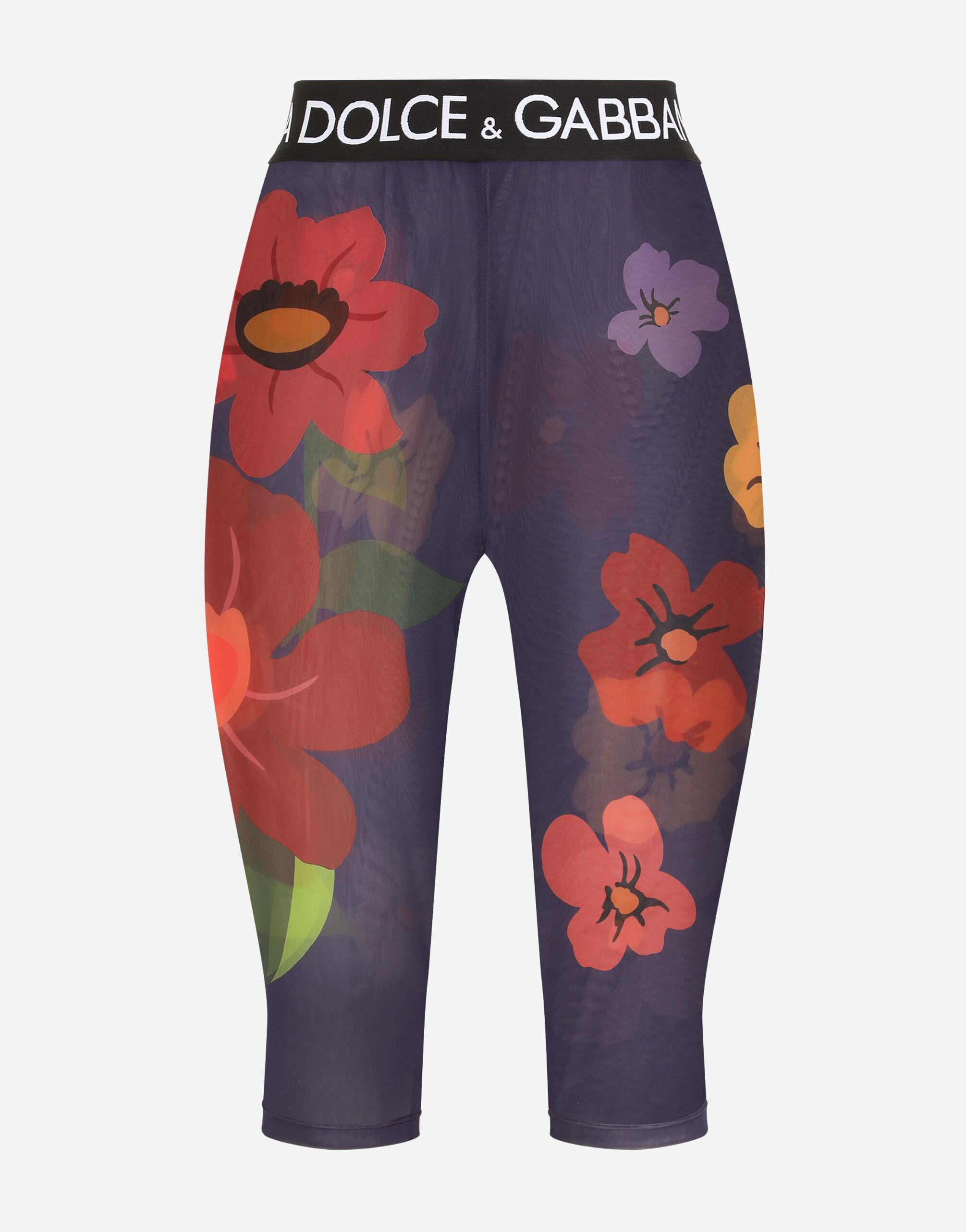 Floral-print marquisette cycling shorts with branded elastic 5