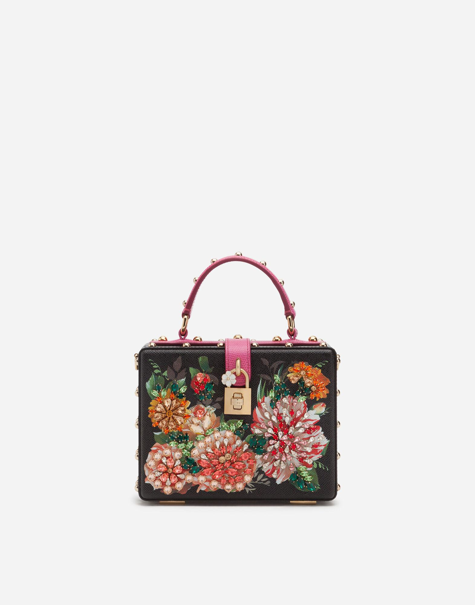 Dolce Box bag in printed dauphine calfskin with embroidery