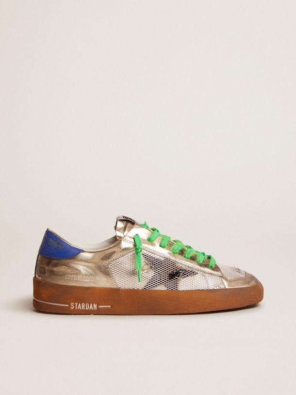 Stardan LAB sneakers in laminated leather and mesh with an electric blue heel tab