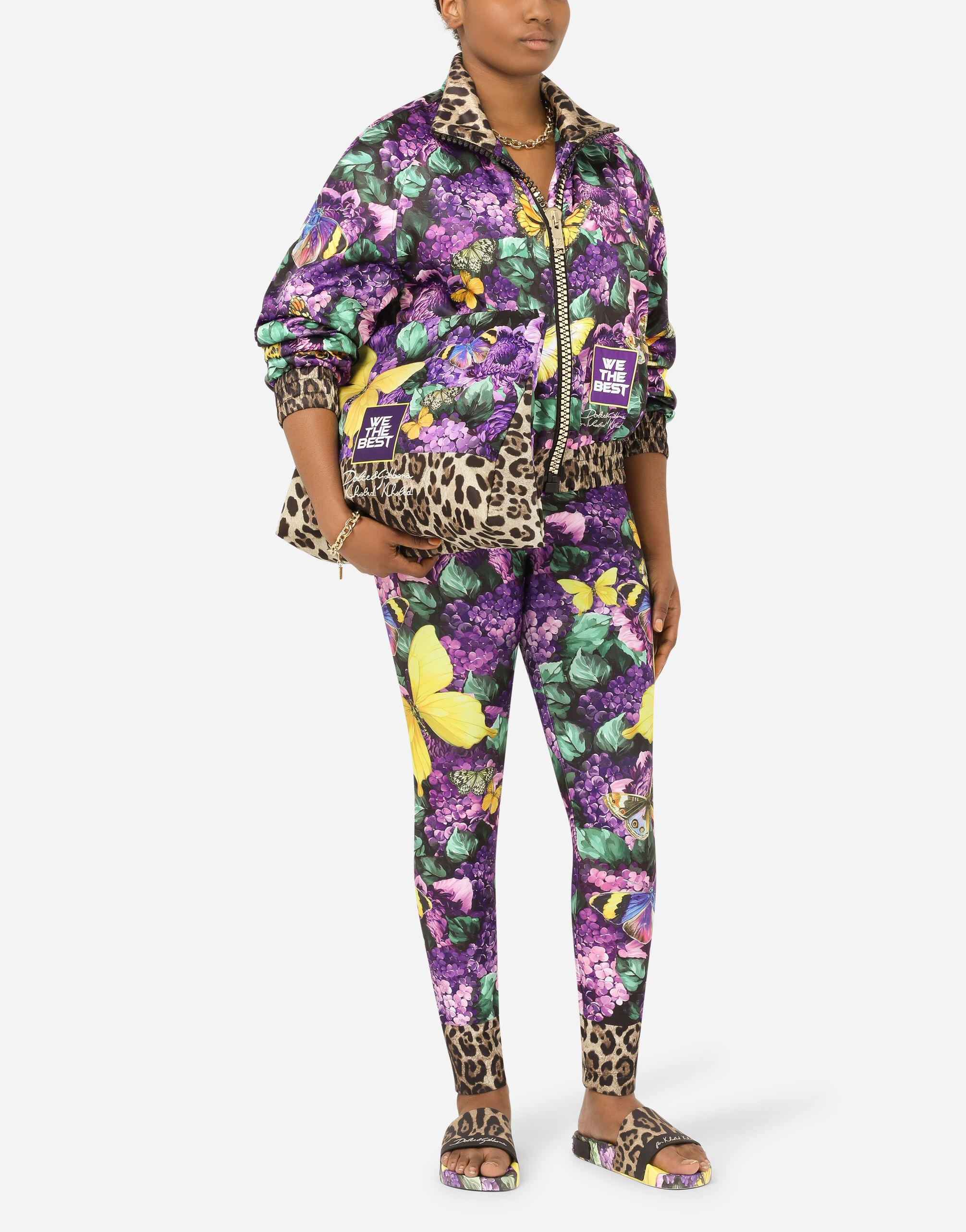 Cropped butterfly-print bomber jacket 1